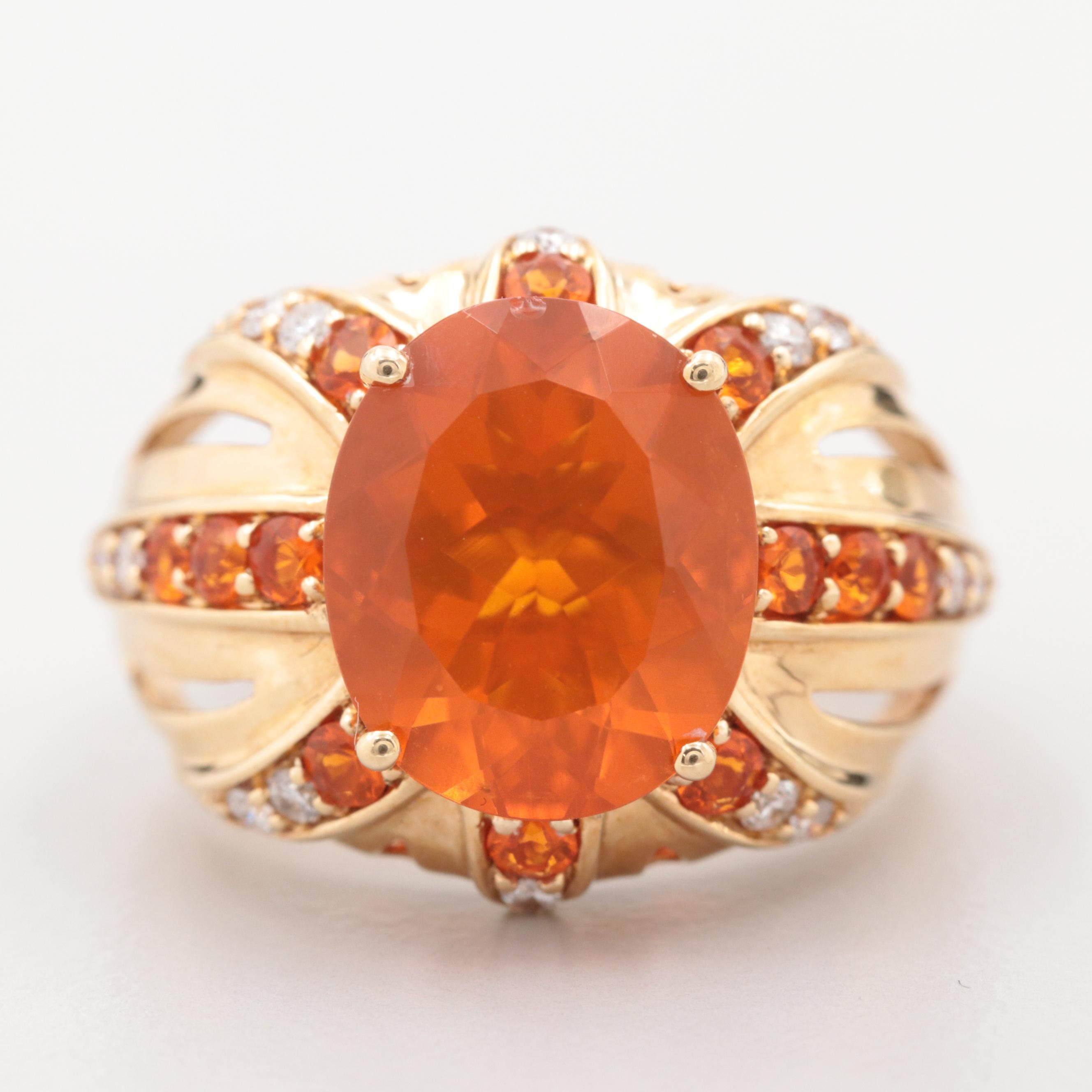 18K Yellow Gold Fire Opal and Diamond Ring