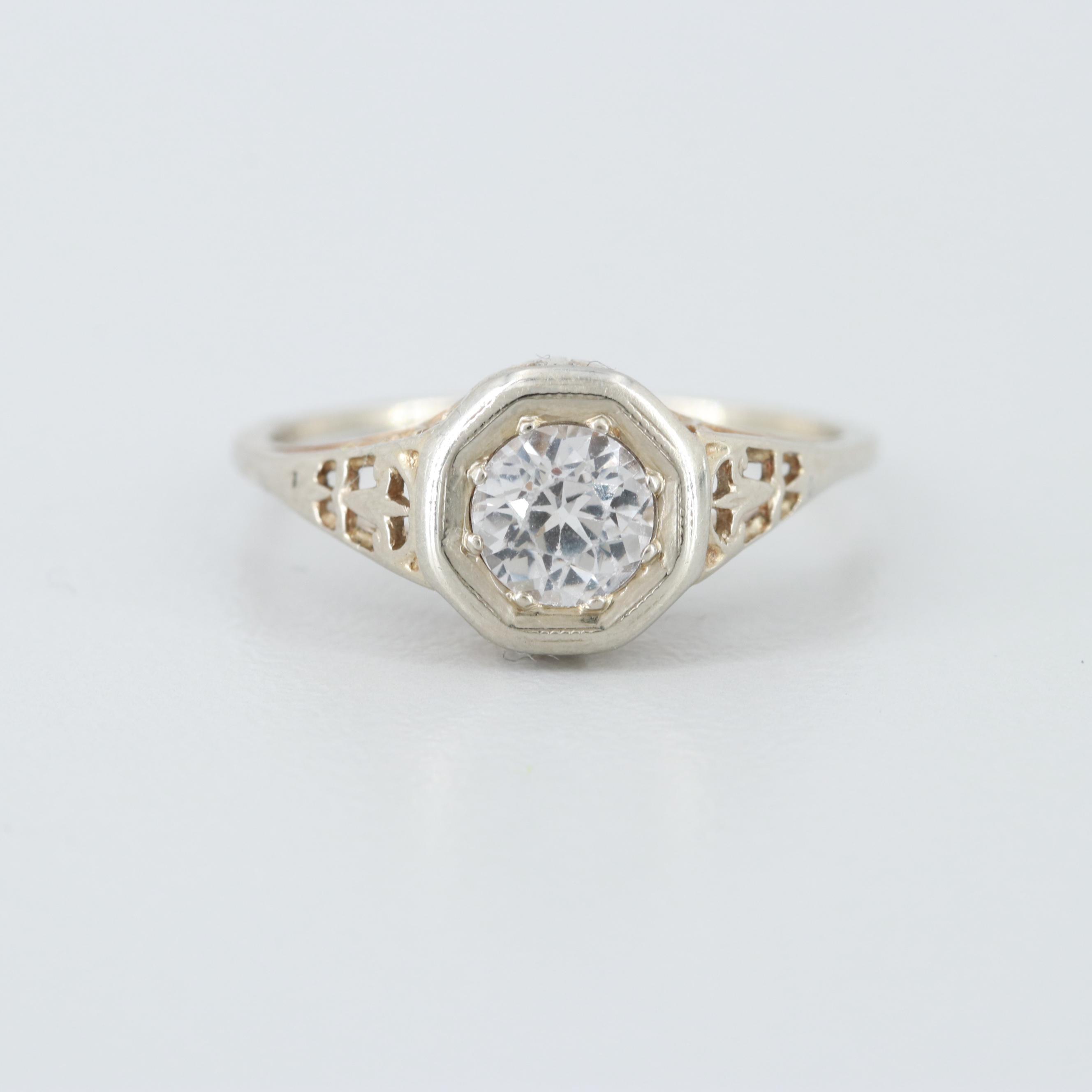 Art Deco 14K White Gold White Sapphire Pierced Lotus Ring