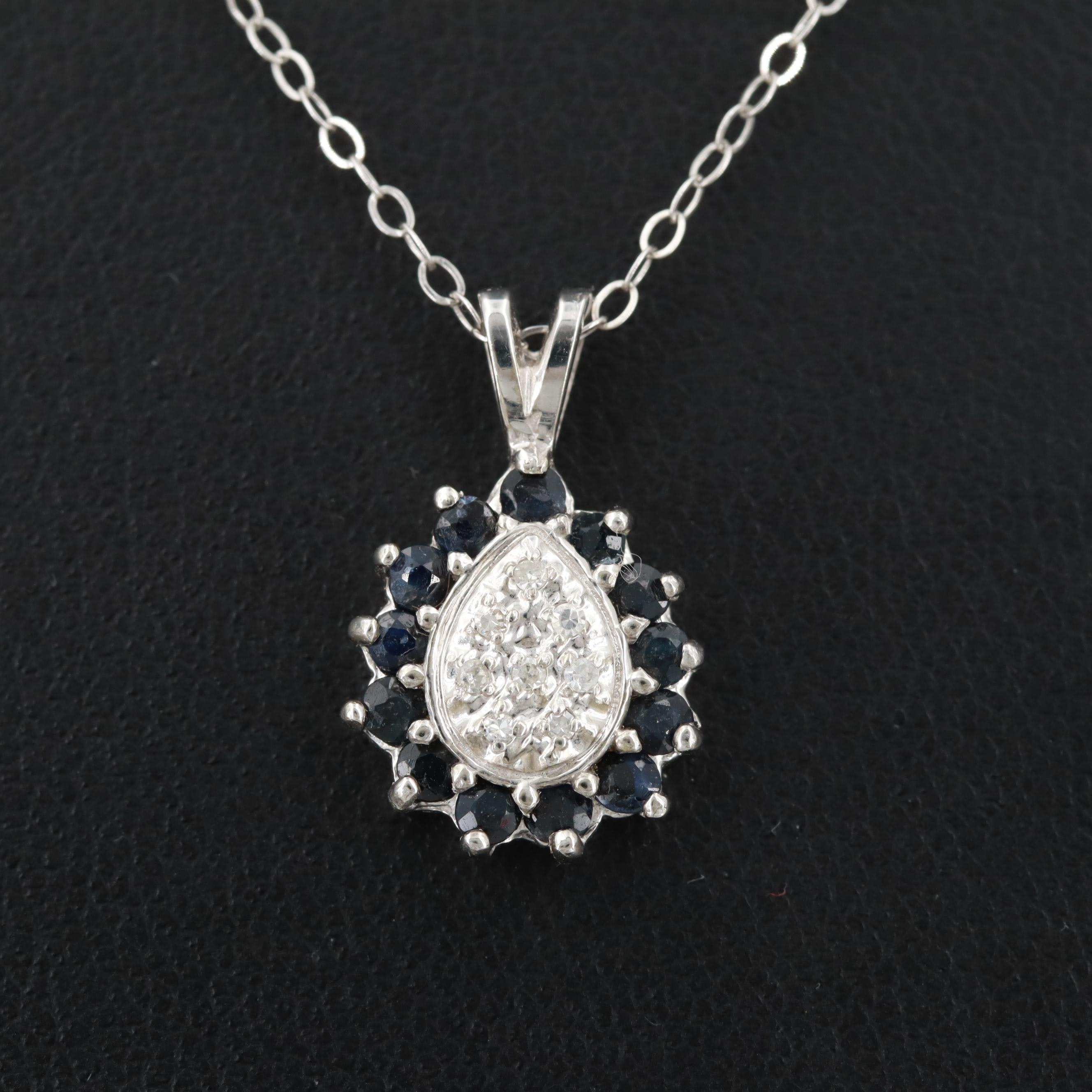 10K White Gold Sapphire and Diamond Pendant Necklace