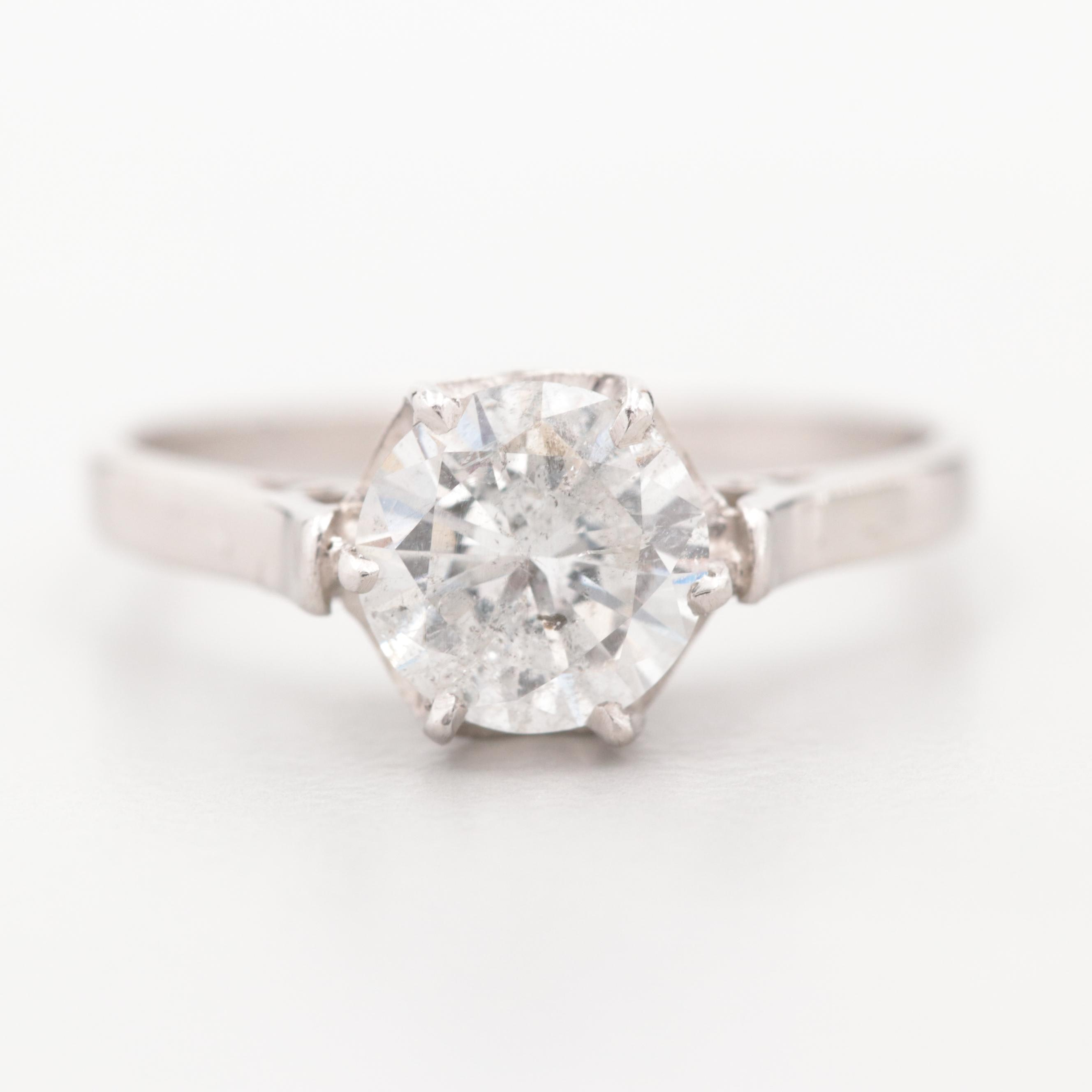 Vintage Platinum 1.20 CT Diamond Solitaire Ring