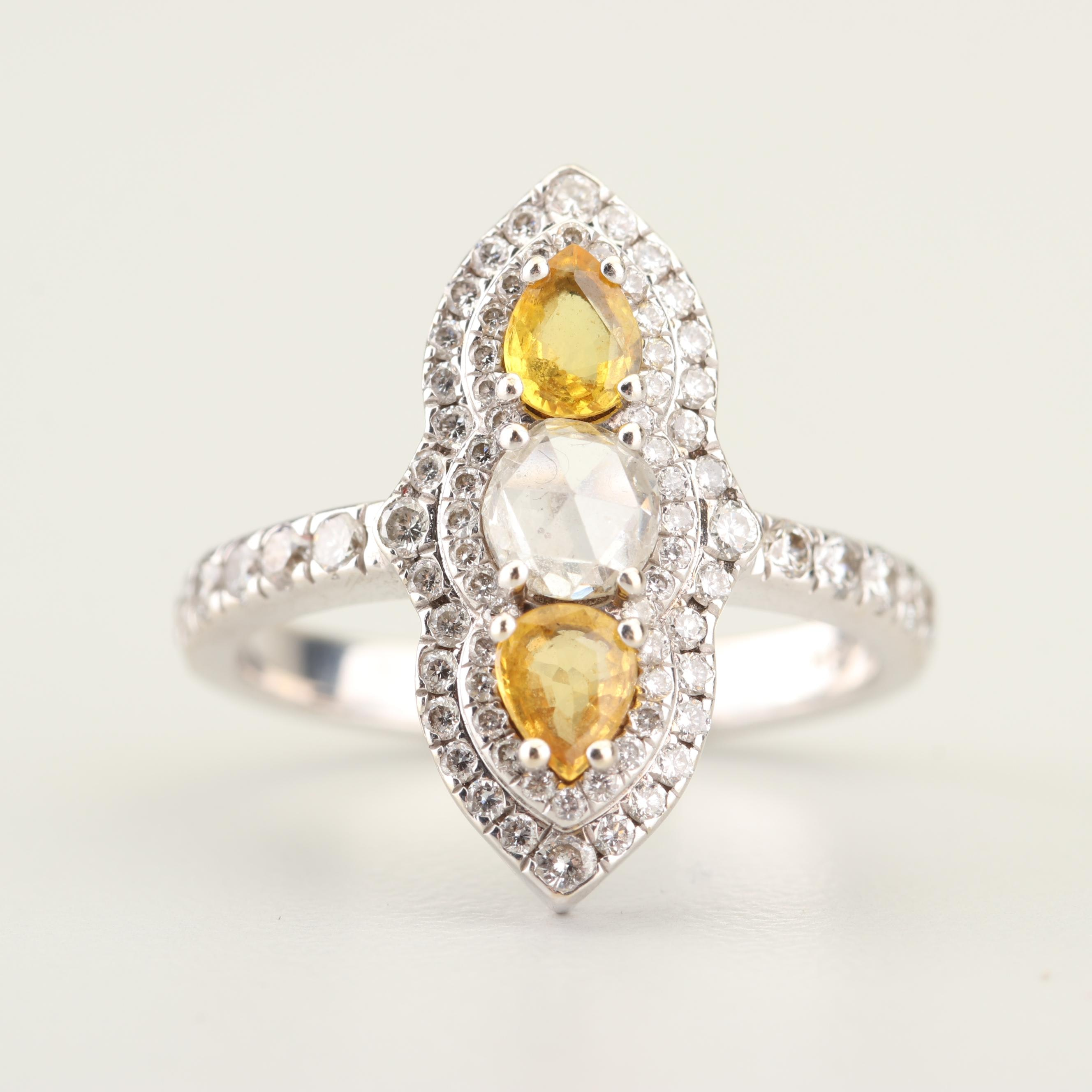18K White Gold Rose and Round Brilliant Cut Diamond and Yellow Sapphire Ring