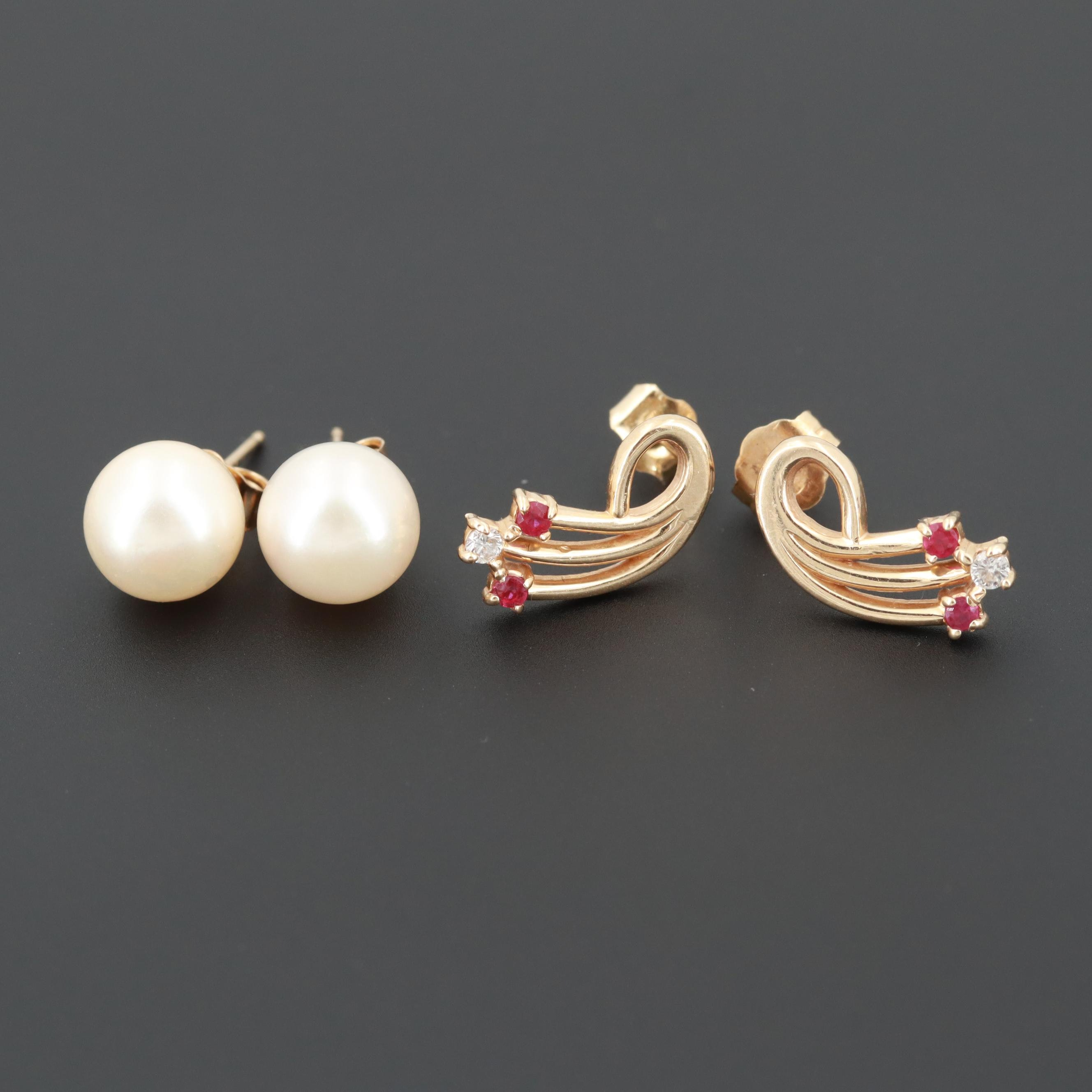 14K Yellow Gold Cultured Pearl, Diamond and Ruby Earrings