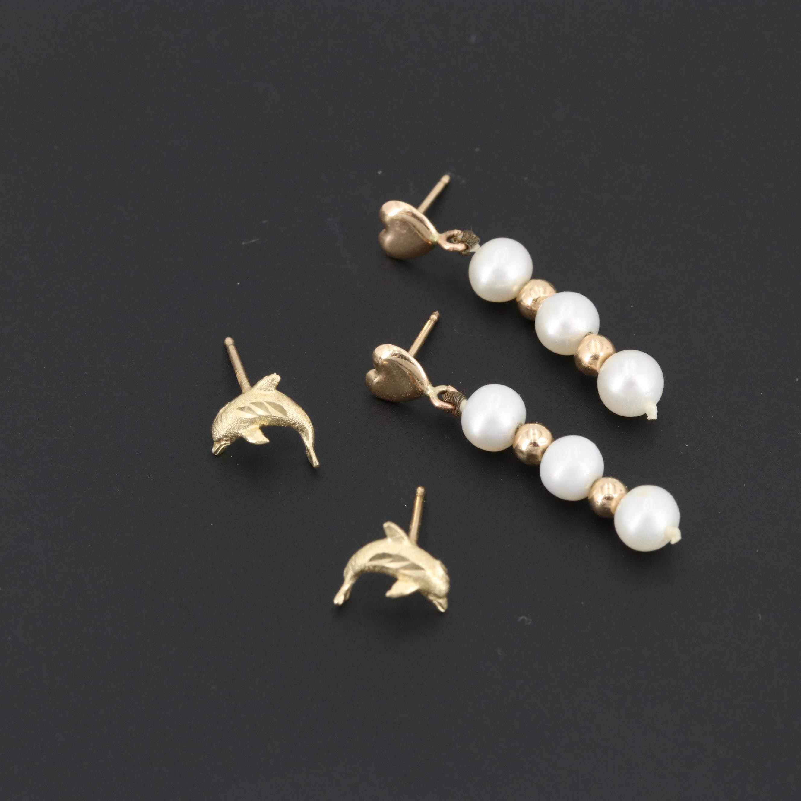 14K Yellow Gold Dolphin Earrings and Cultured Pearl Earrings