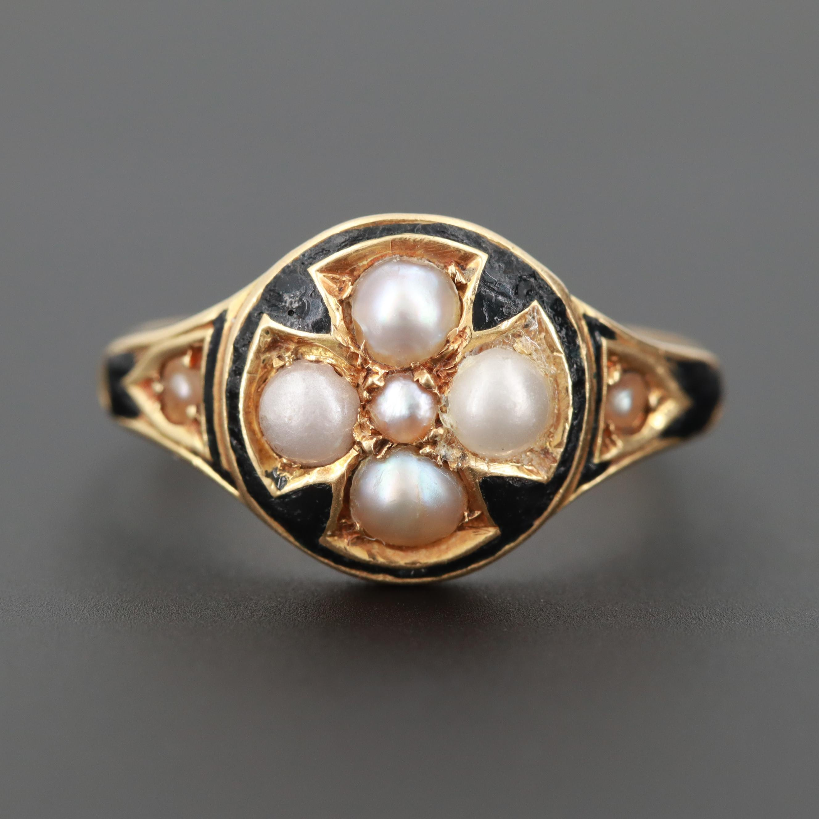Victorian 18K Enamel and Cultured Pearl Mourning Ring