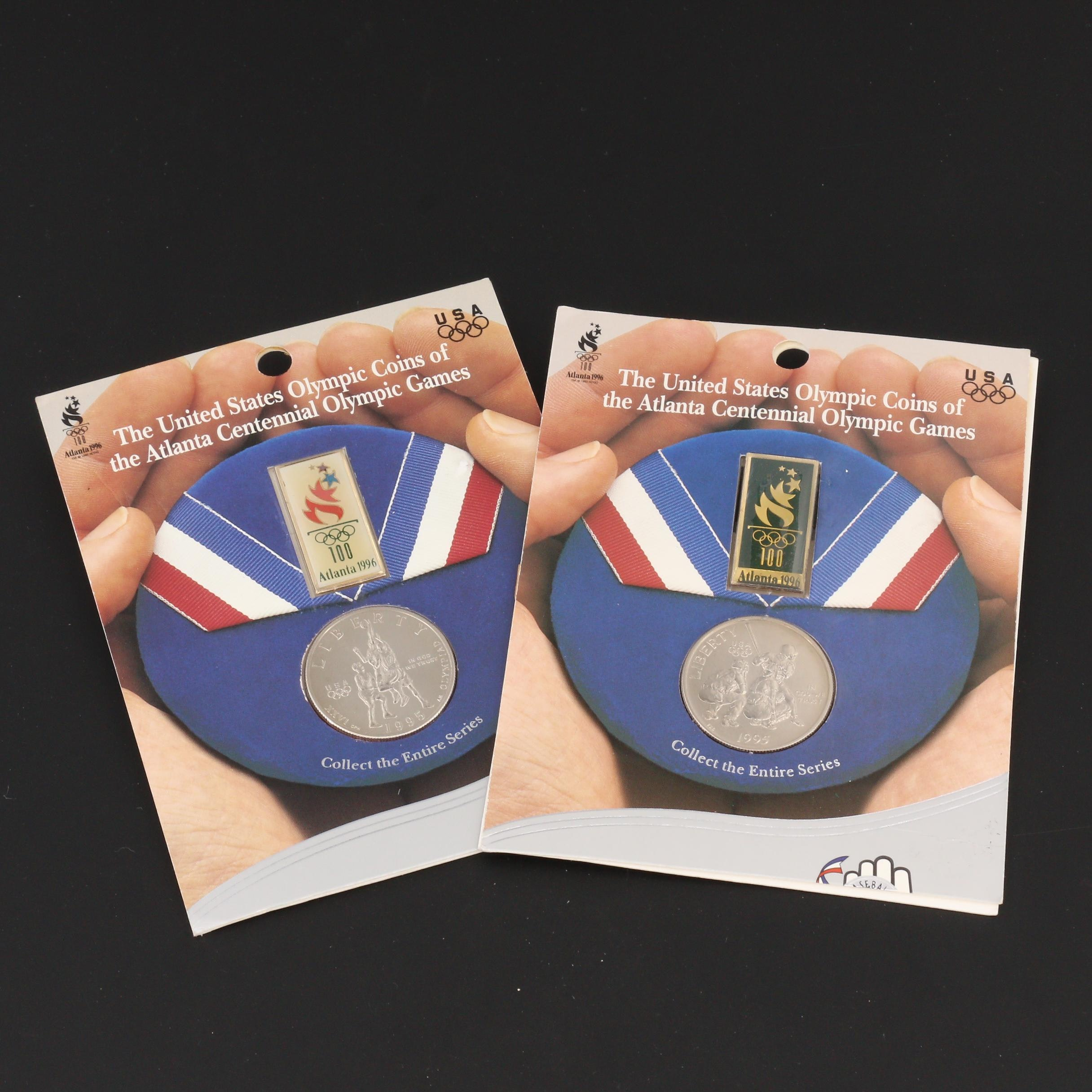 Group of Two 1996 Atlanta Olympics Commemorative Coin and Pin Sets