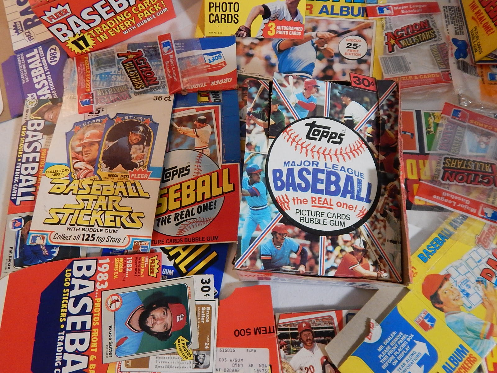 1970s and 1980s Baseball Card Box Collection with Topps, Fleer, Donruss and More