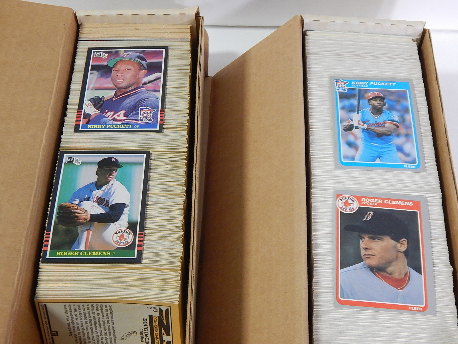 1985 Donruss and Fleer Baseball Card Sets with Clemens and Puckett Rookies