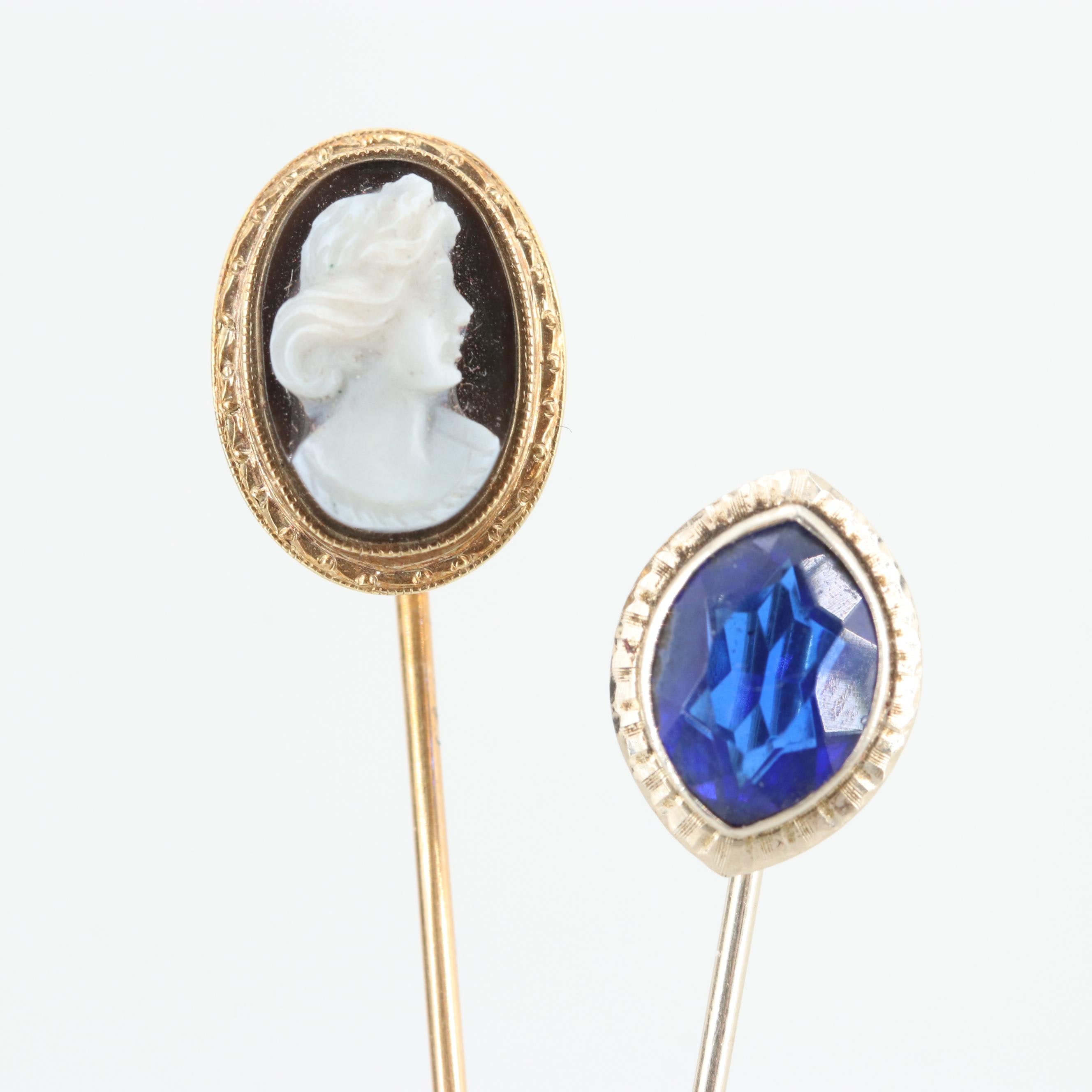 Circa 1920s - 1930s 14K Yellow and White Gold Onyx and Glass Stick Pins