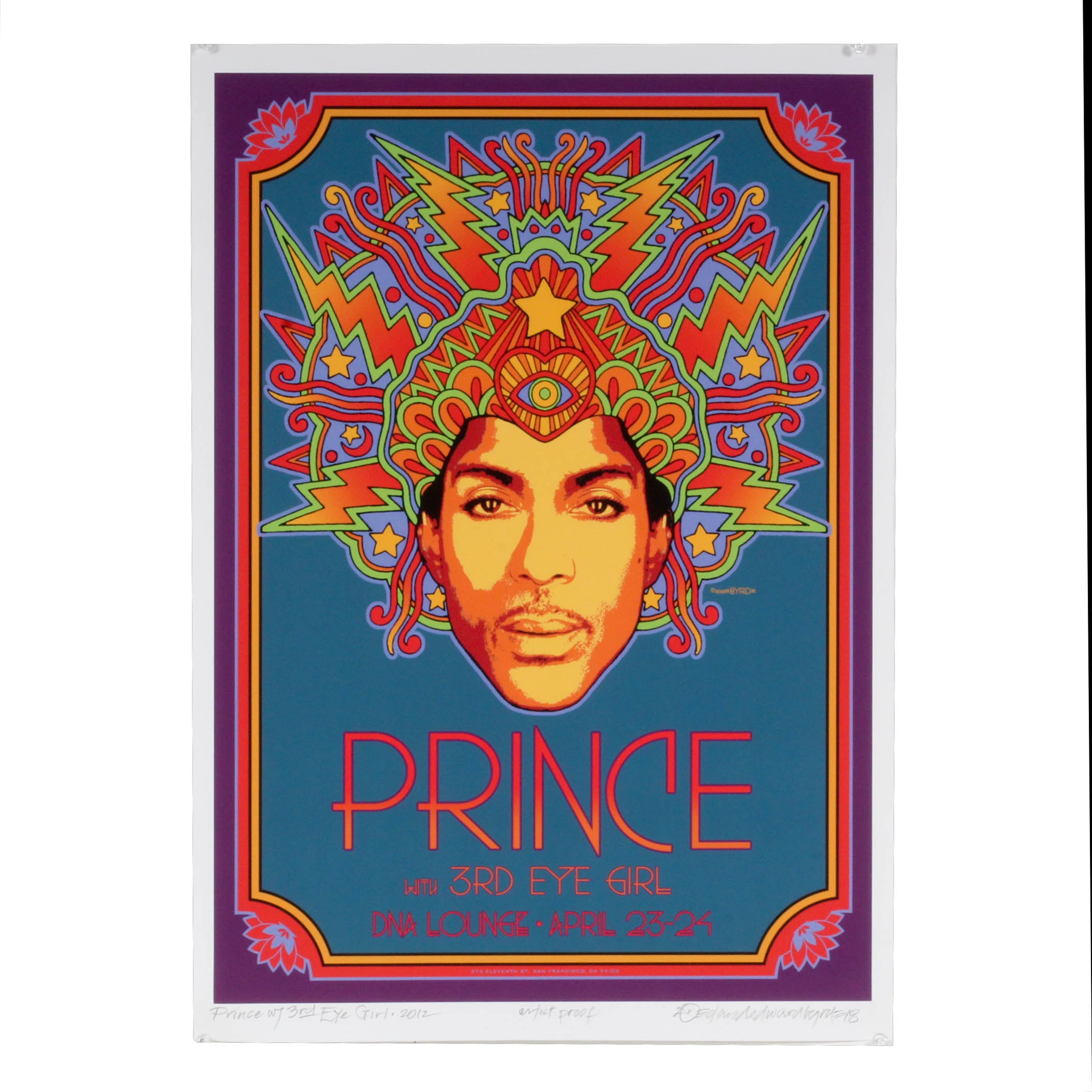 """Signed David Edward Byrd """"Prince with 3rd Eye Girl"""" Giclee Poster"""
