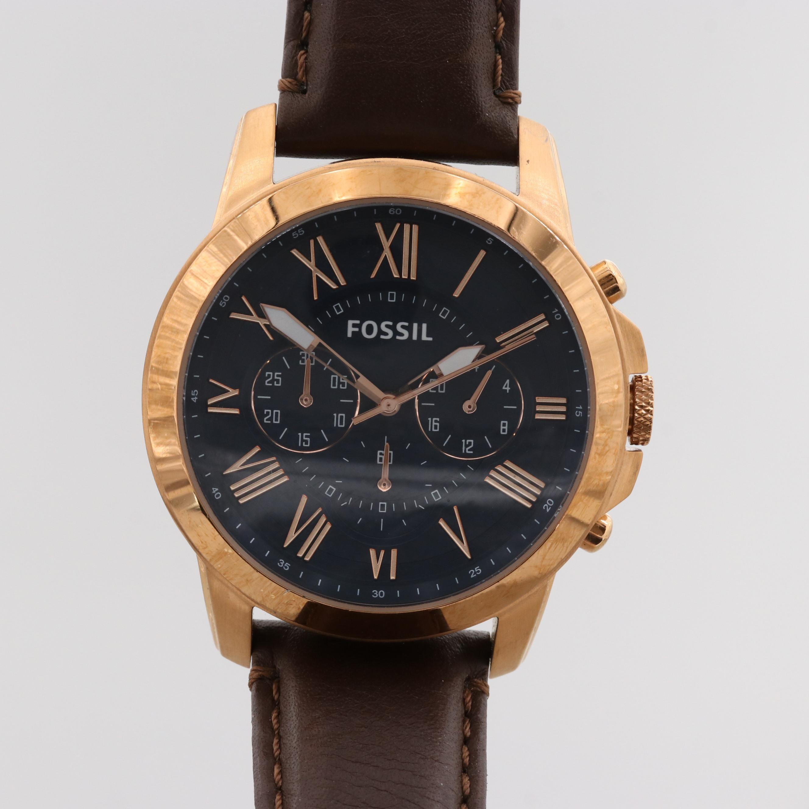 Fossil Grant Rose Gold Tone Quartz Chronograph Wristwatch