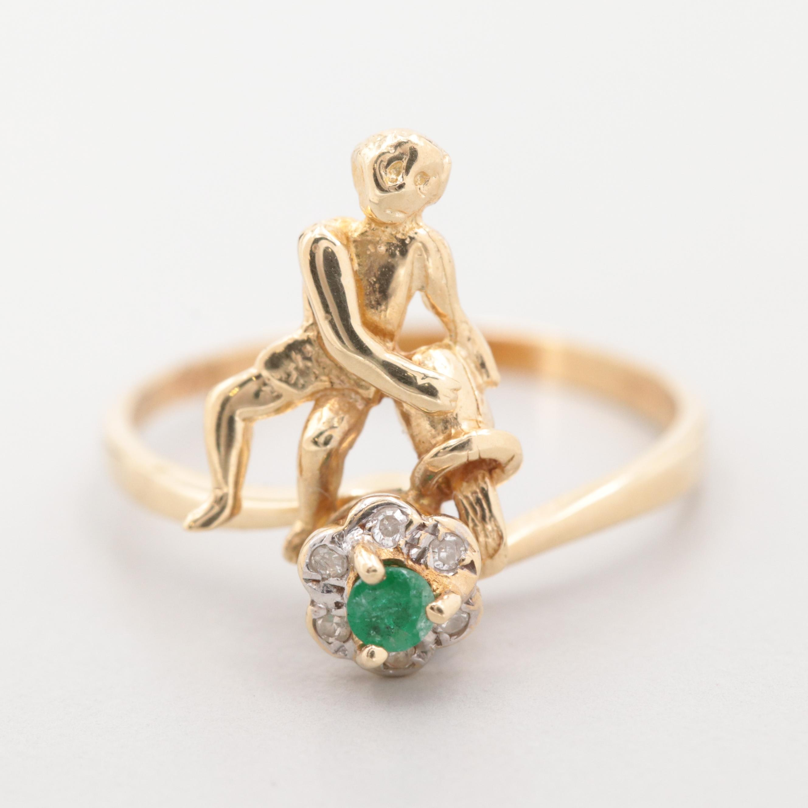 14K Yellow Gold Emerald and Diamond Articulated Ring