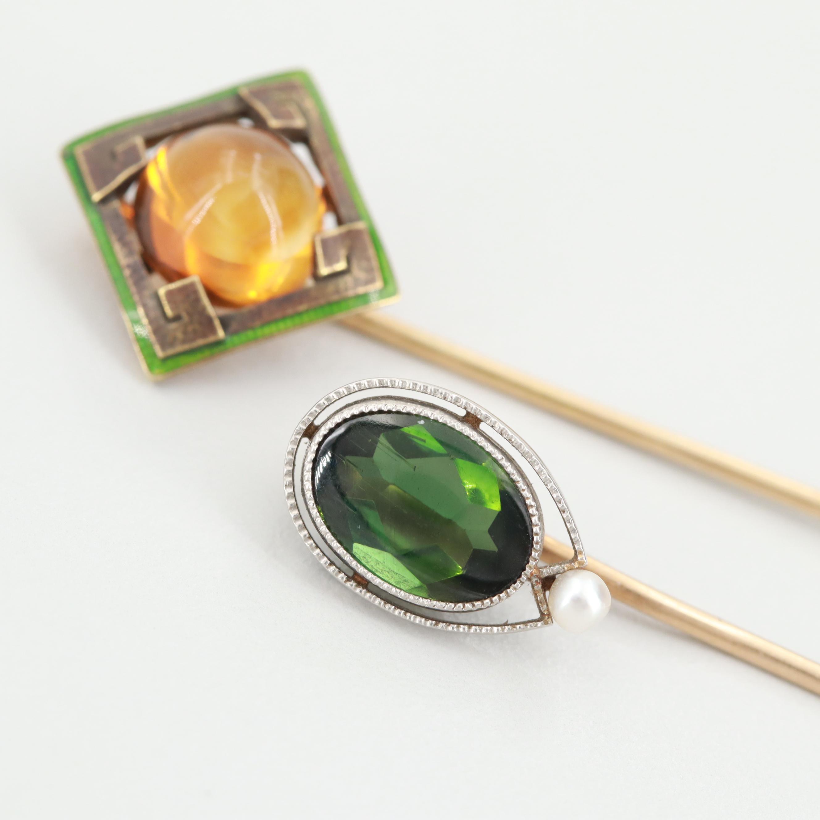 Arts & Crafts 14K Gold and Platinum Green Tourmaline and Gemstone Stick Pins