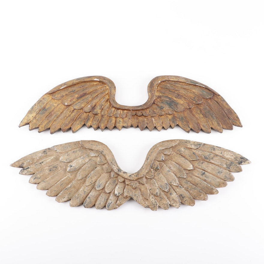 Carved Wood Wings Wall Decor
