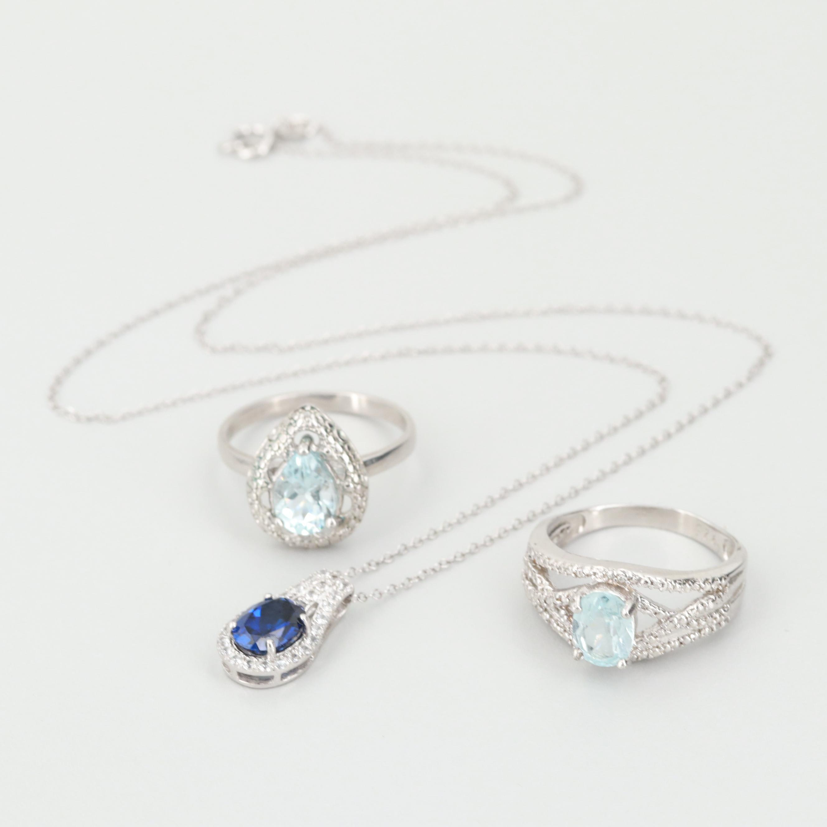 Sterling Blue Topaz, Diamond and Synthetic Sapphire Pendant Necklace and Rings