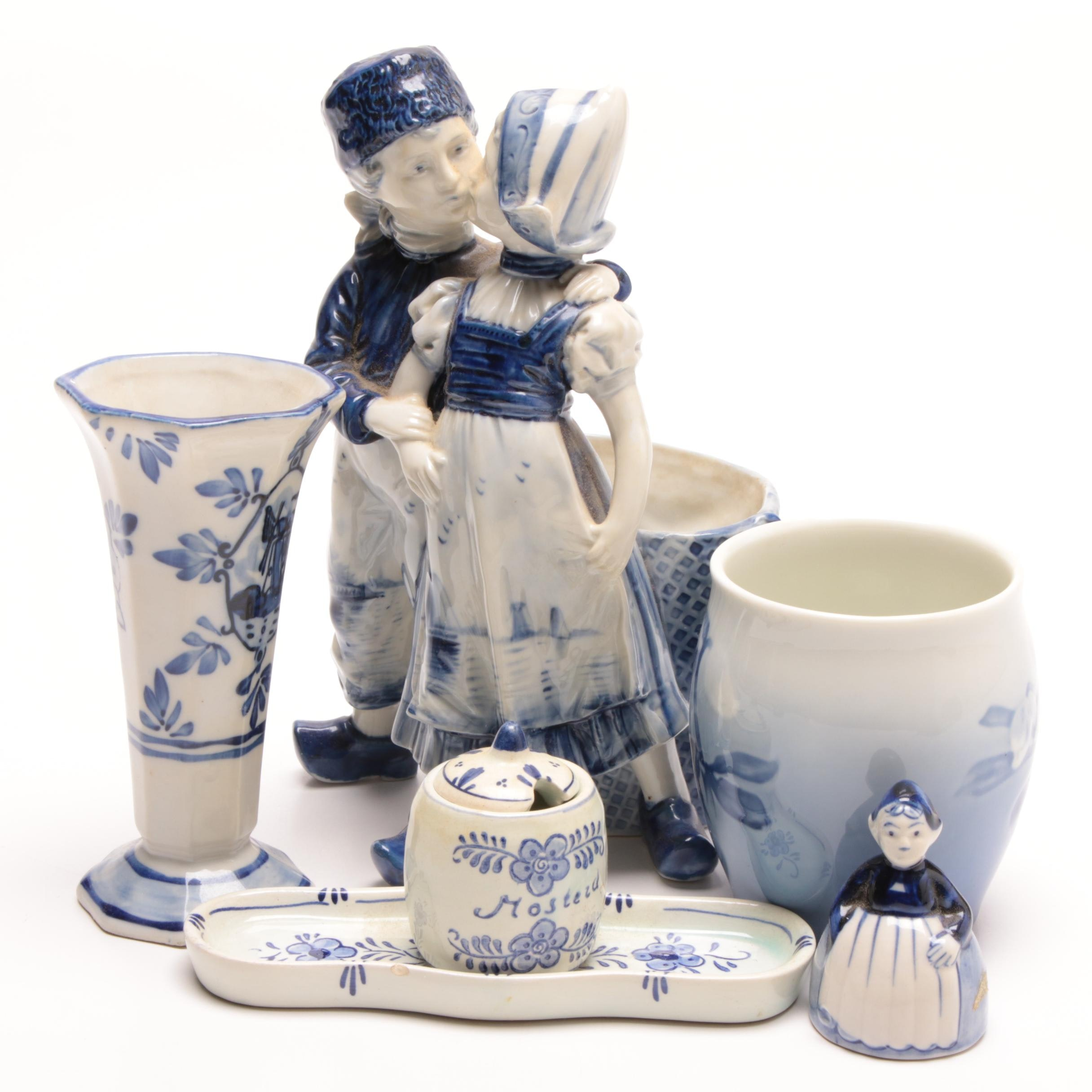 Delft and Delft Style Hand-Painted Figurines and Tableware