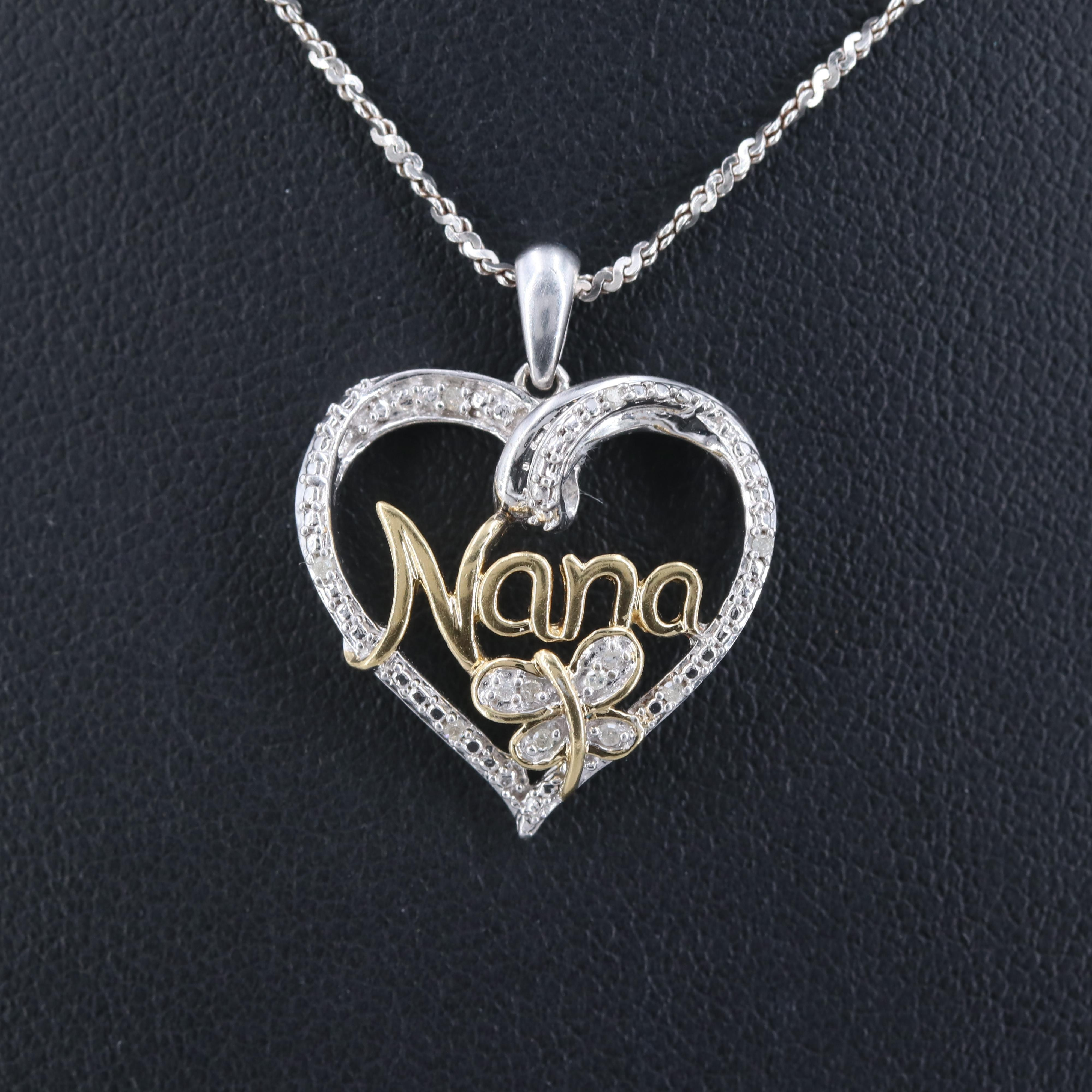 """Sterling Silver Diamond """"NANA"""" Heart Pendant Necklace with Gold Wash Accents"""
