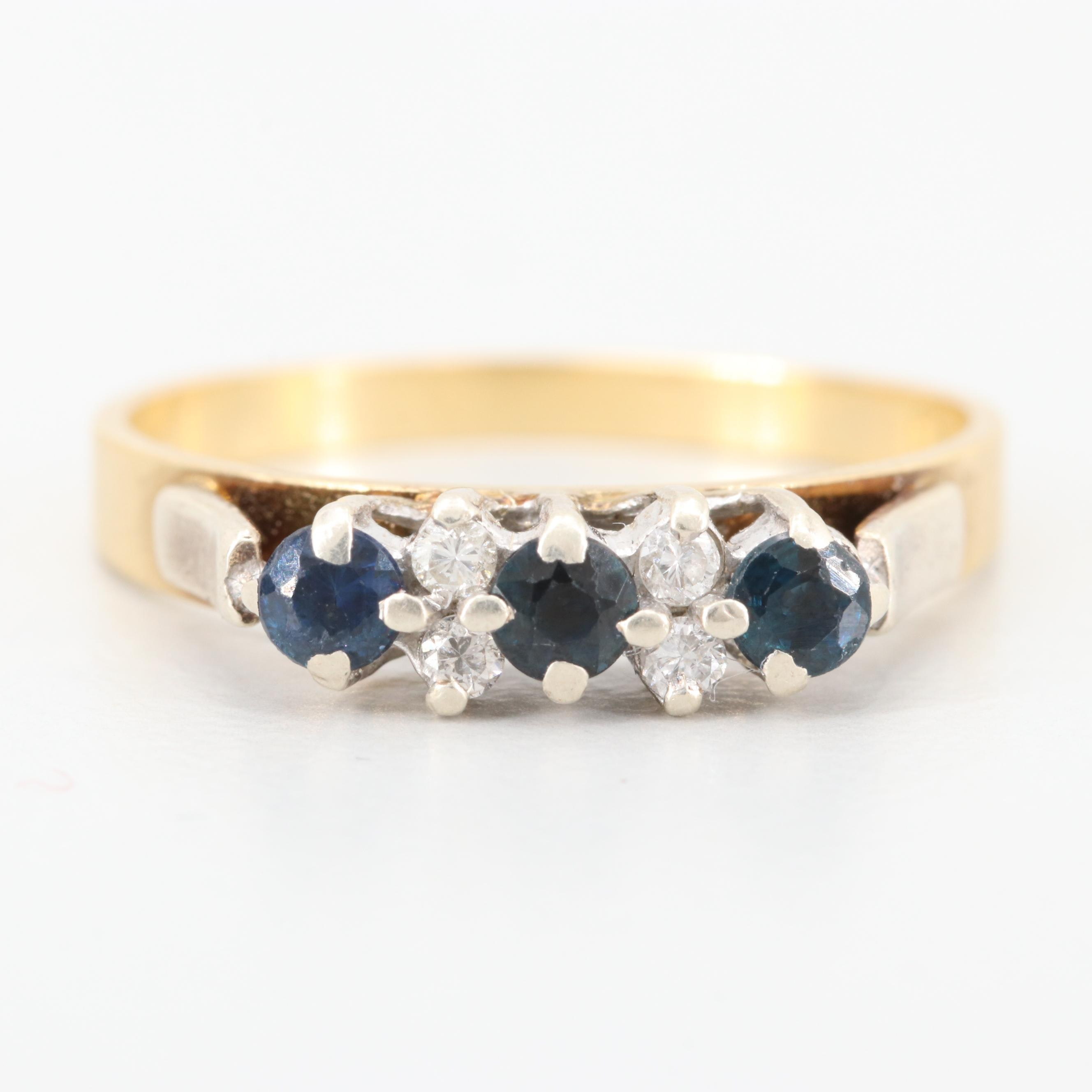 18K Yellow Gold Sapphire and Diamond Ring with 10K White Gold Accents
