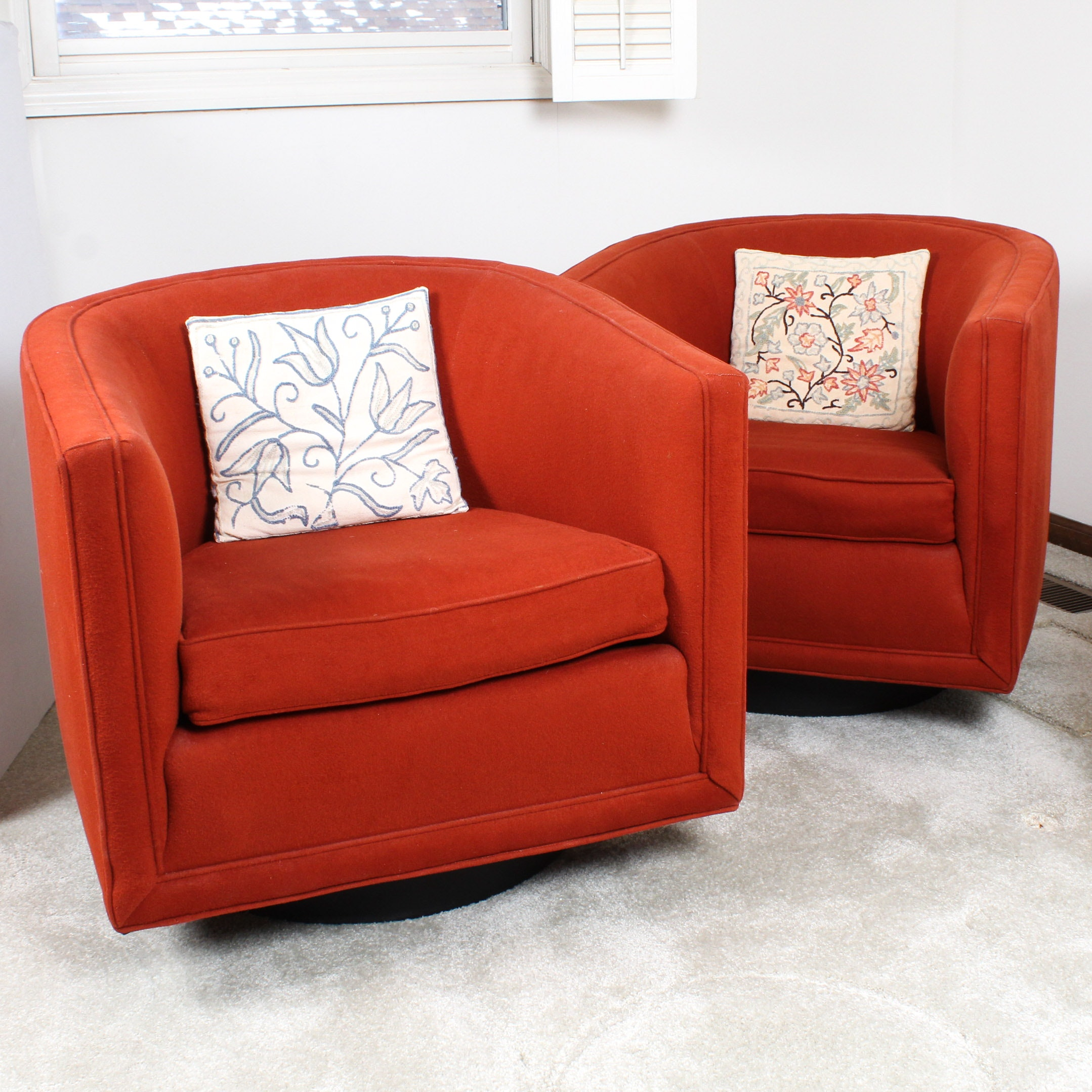 Founders Barrel-Back Swivel Armchairs, Mid-Century