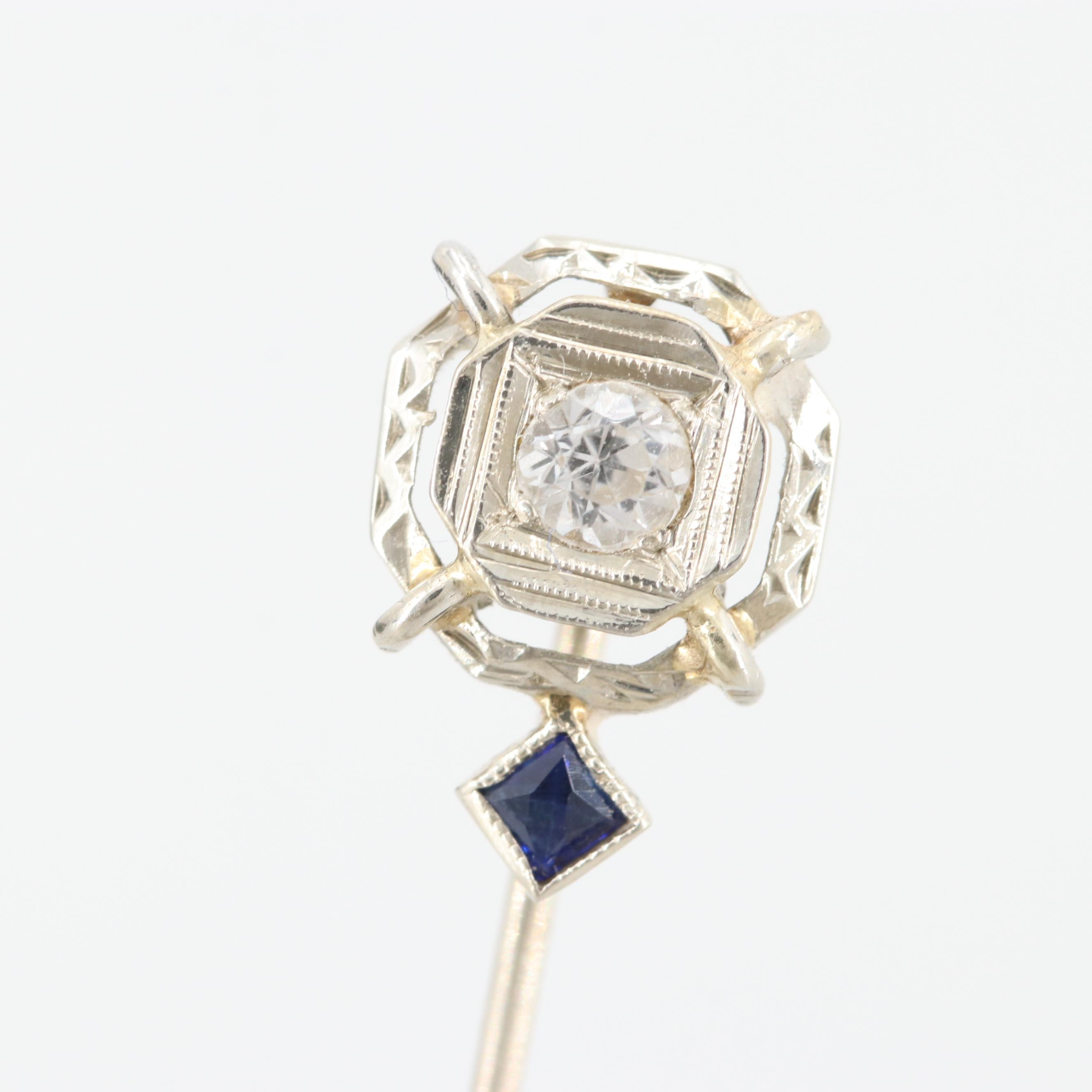 Art Deco 18K and 14K White Gold White Sapphire and Synthetic Sapphire Stick Pin