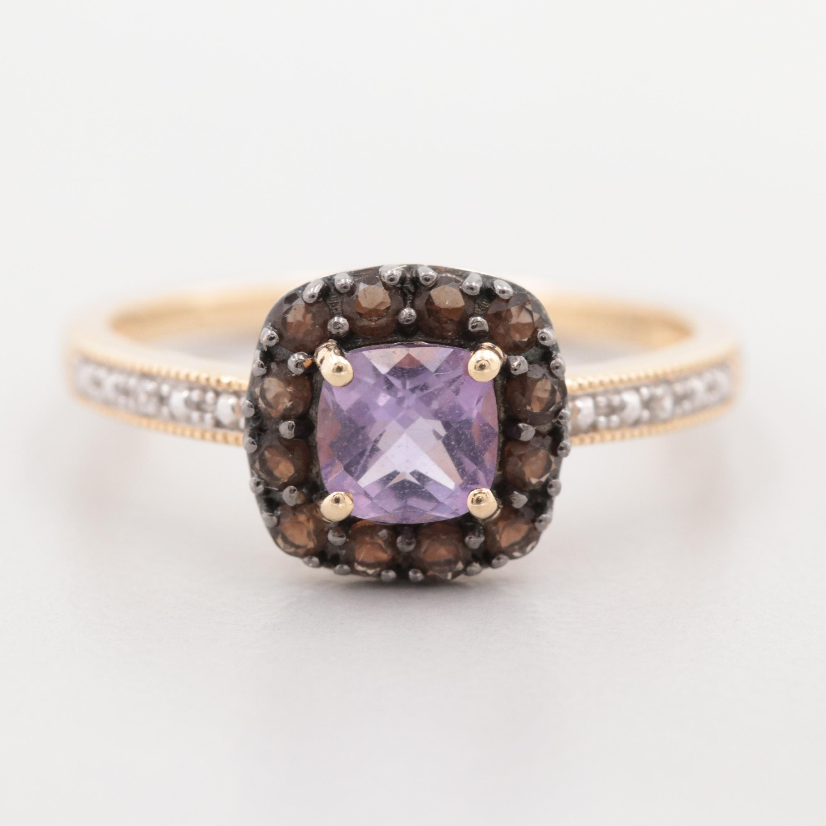 10K Yellow Gold Amethyst and White Topaz Ring