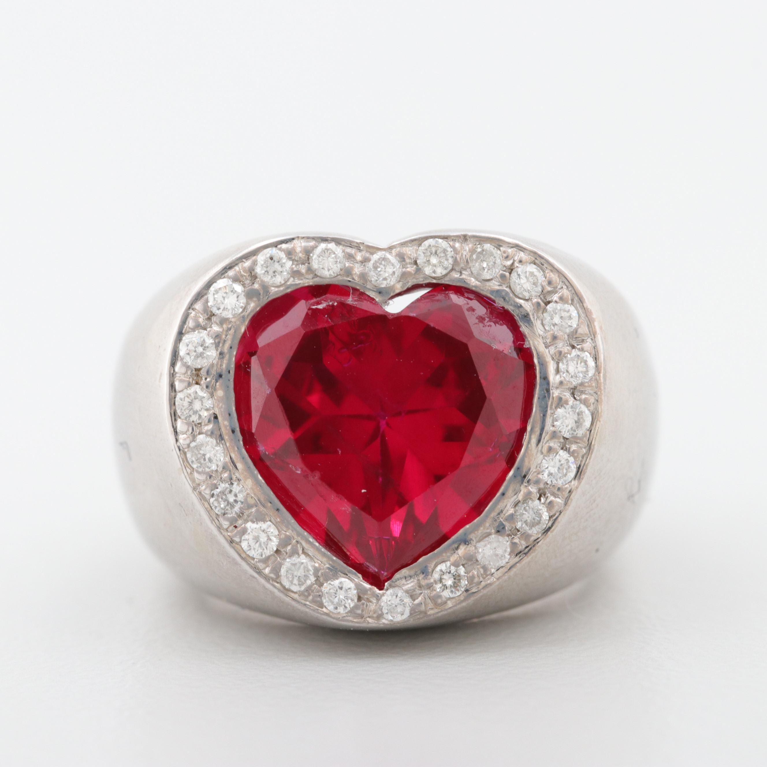 14K White Gold Synthetic Ruby and Diamond Heart Shaped Ring
