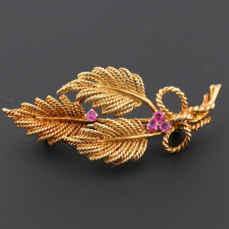 Vintage Tiffany & Co. 18K Yellow Gold Ruby Foliate Brooch