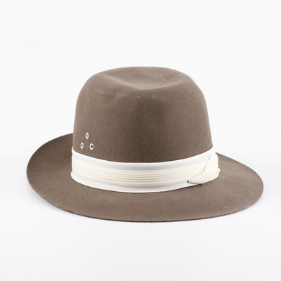 ddfd288e37a97 Brooks Brothers Taupe Felted Wool Fedora Hat