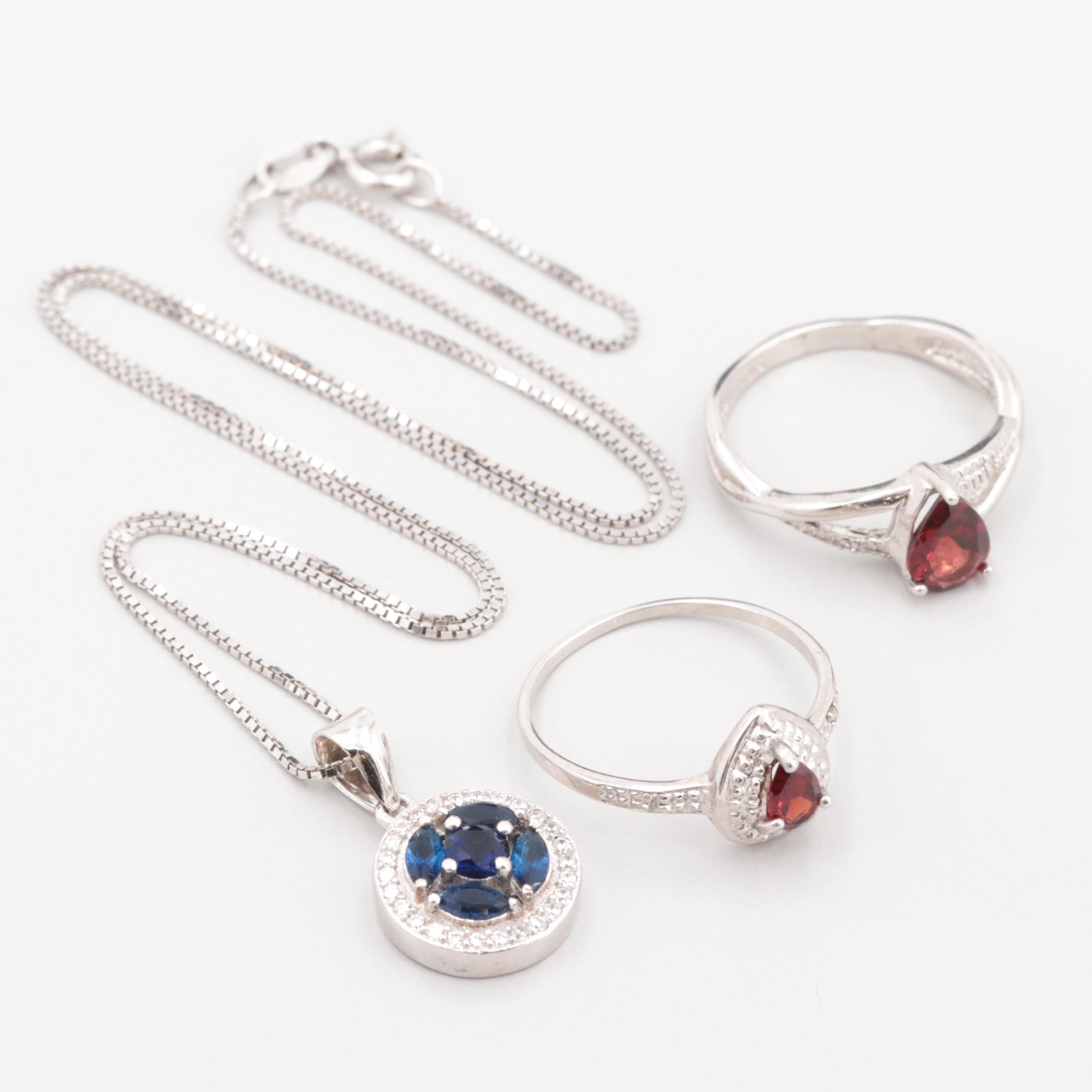 Sterling Silver Garnet, Diamond and Cubic Zirconia Pendant Necklaces and Ring