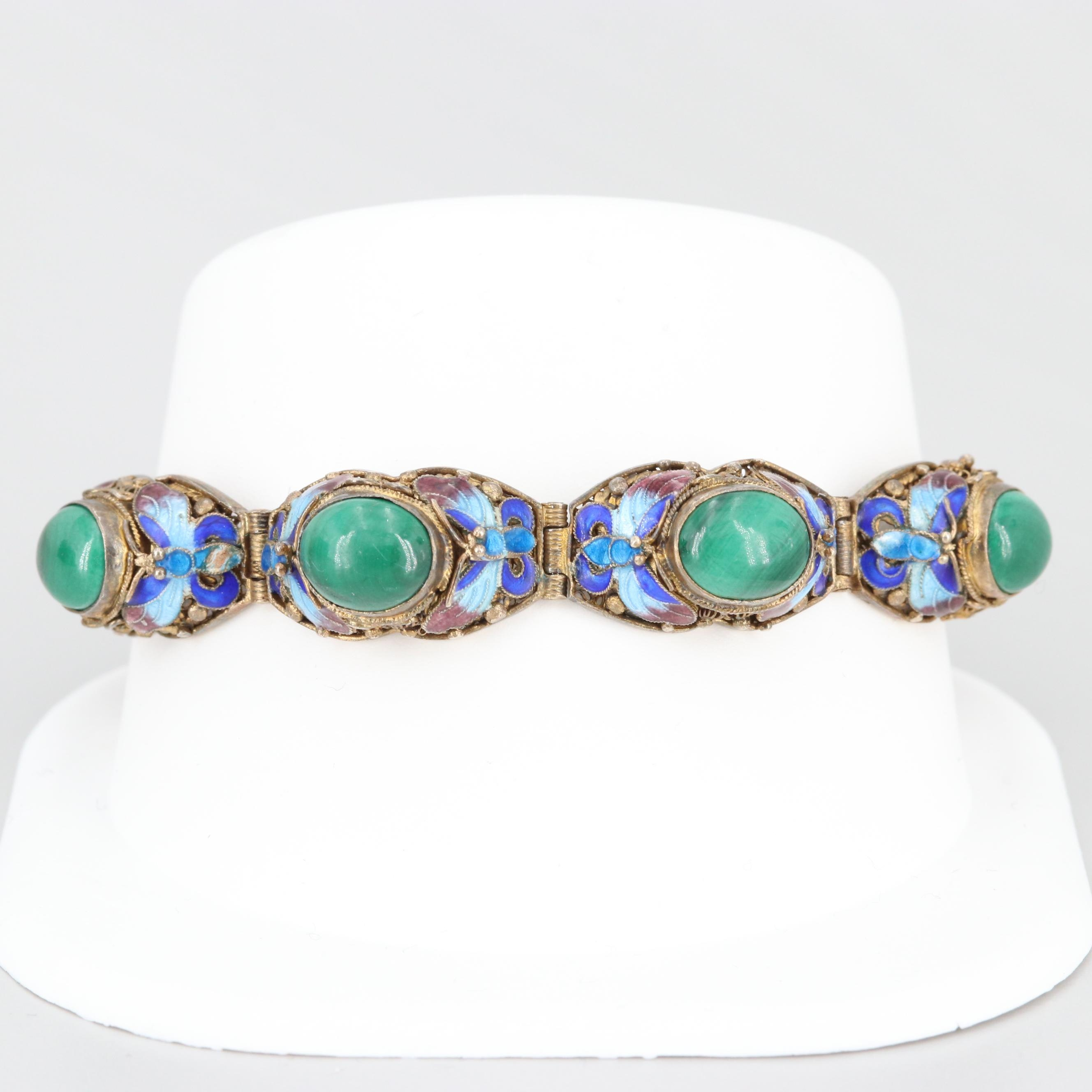 Sterling Silver Malachite and Cloisonné Enamel Bracelet