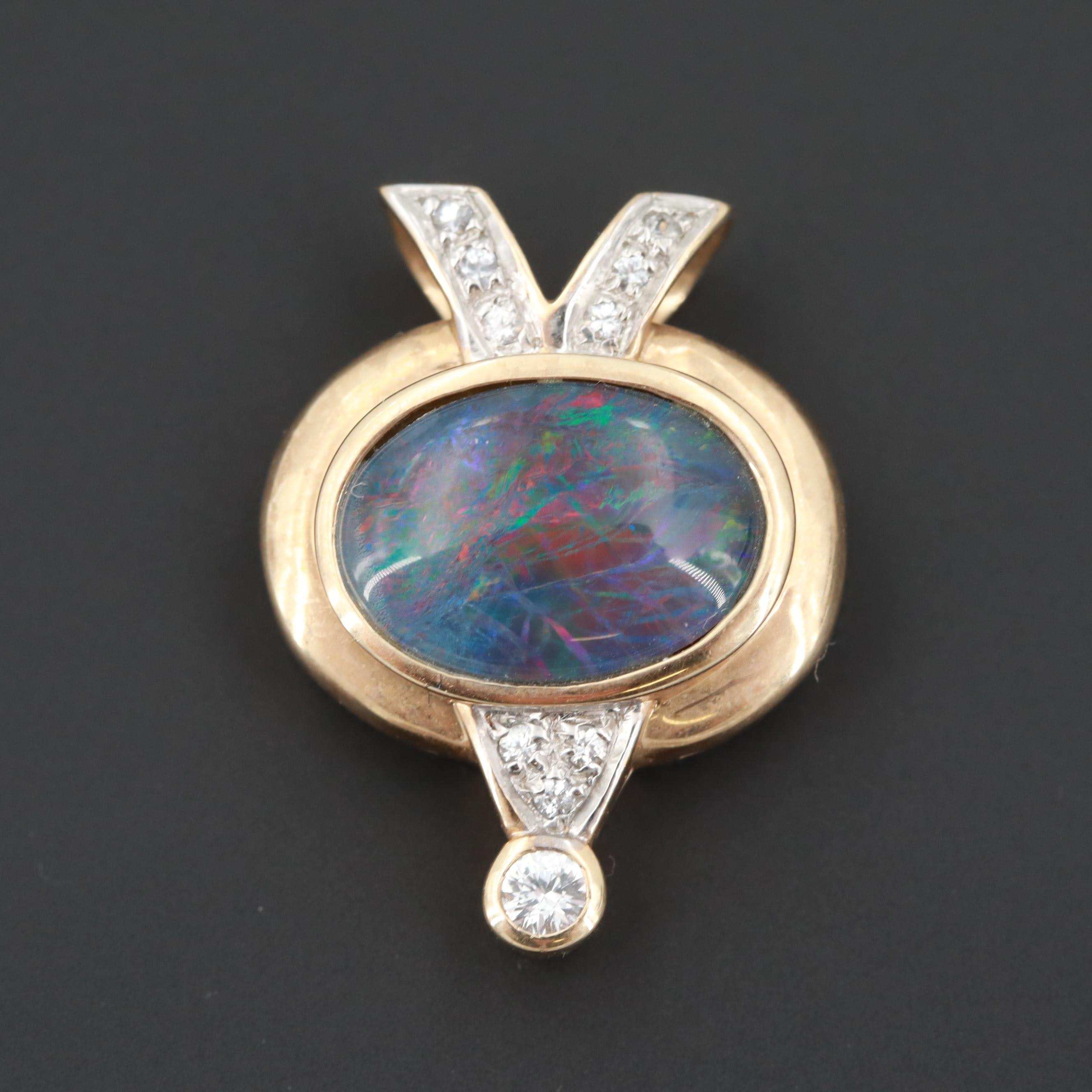 10K Yellow Gold White Sapphire and Opal Triplet Slide Pendant