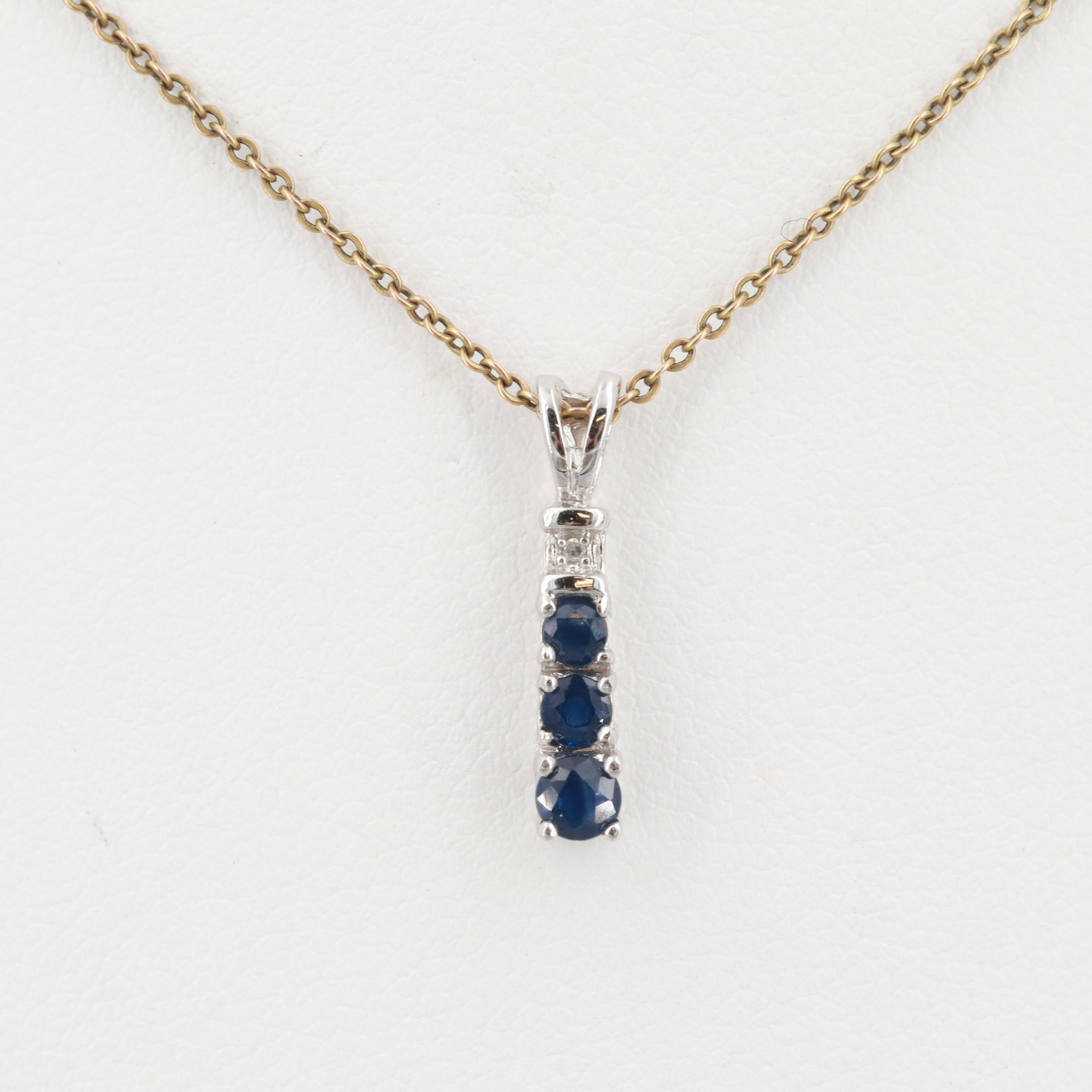 10K White and Yellow Gold Sapphire and Diamond Necklace