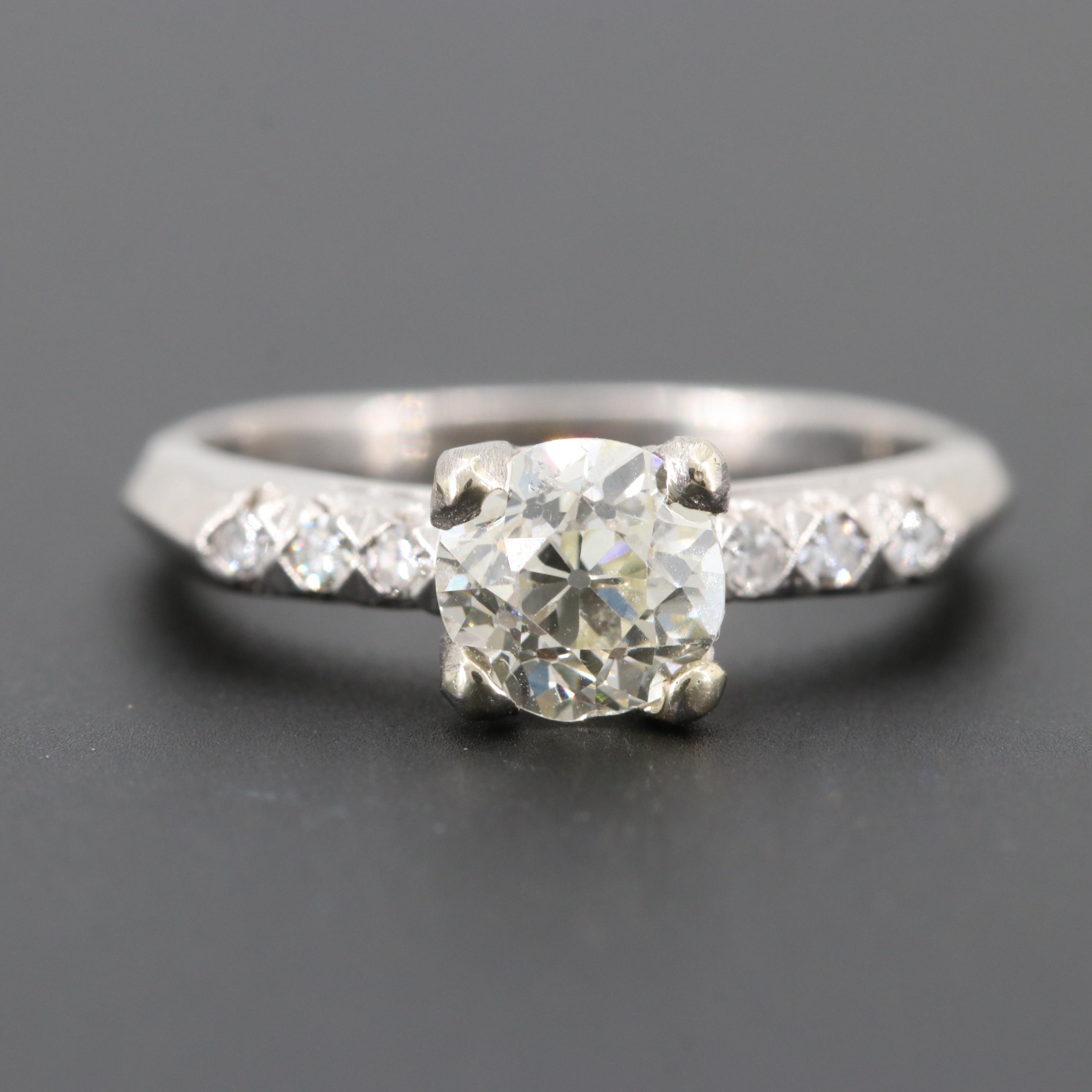 Platinum Diamond Ring with Palladium Accent