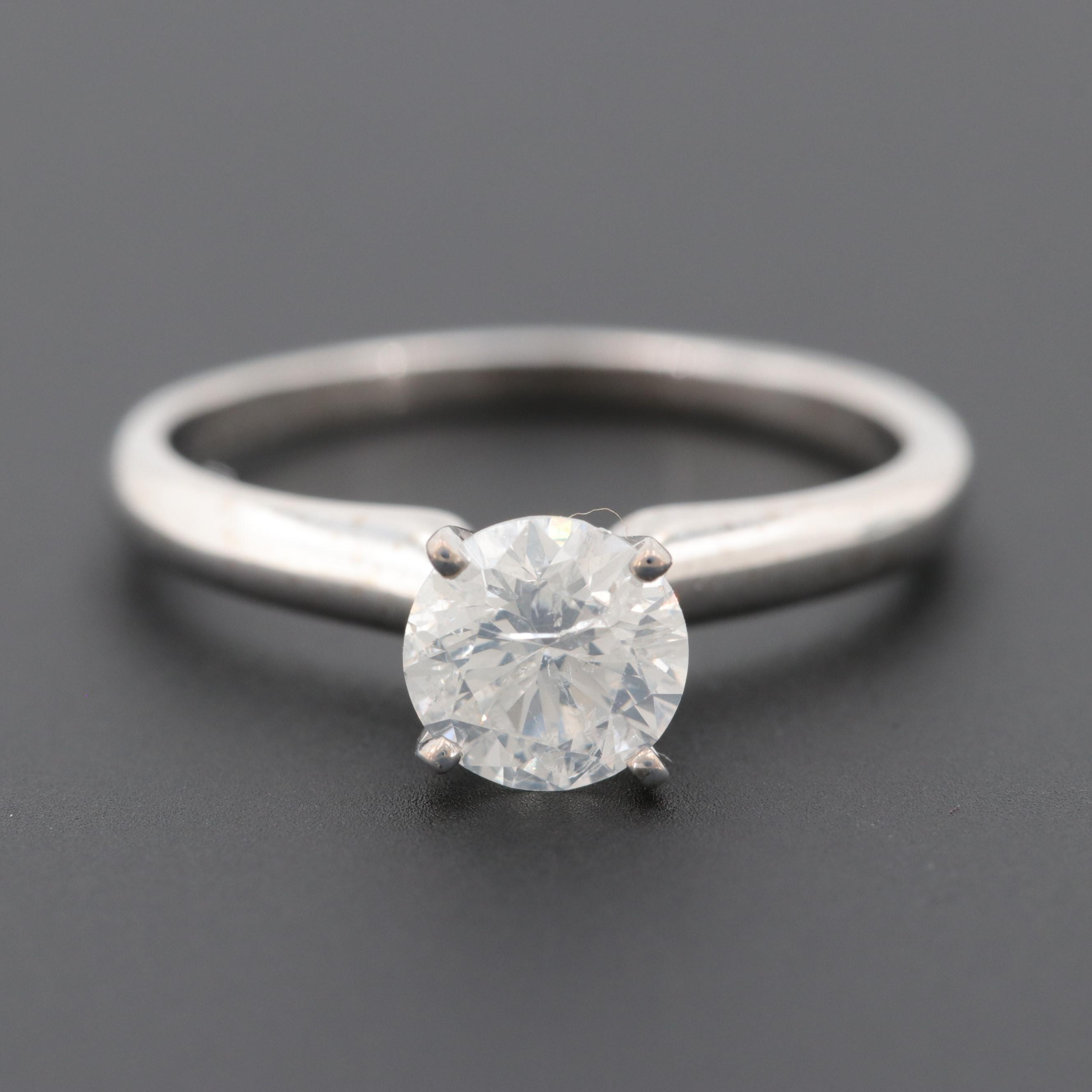 14K and 10K White Gold Diamond Solitaire Ring