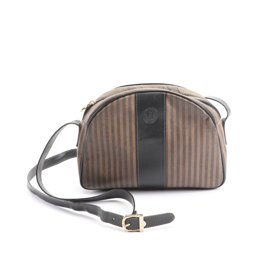 608005b818d0 Fendi Striped Coated Canvas and Leather Crossbody Bag