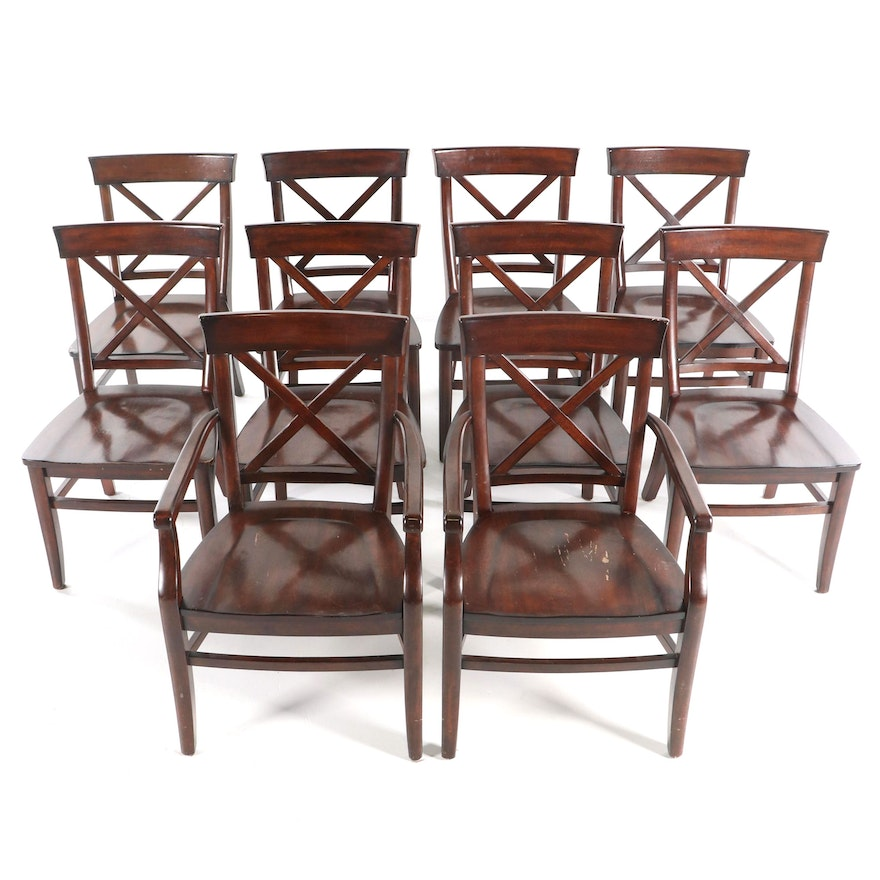 Cherry Stained Wooden Dining Chairs by Pottery Barn, 21st Century