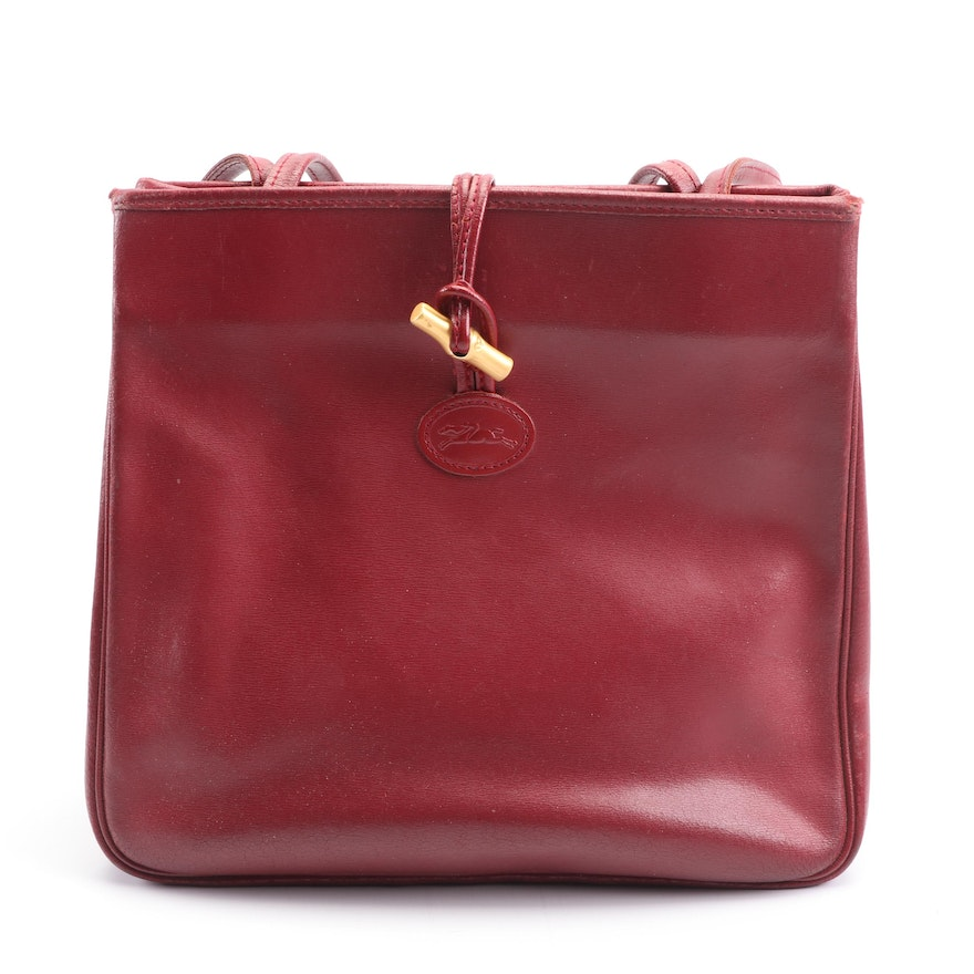 Longchamp Paris Red Leather Tote, Made in France