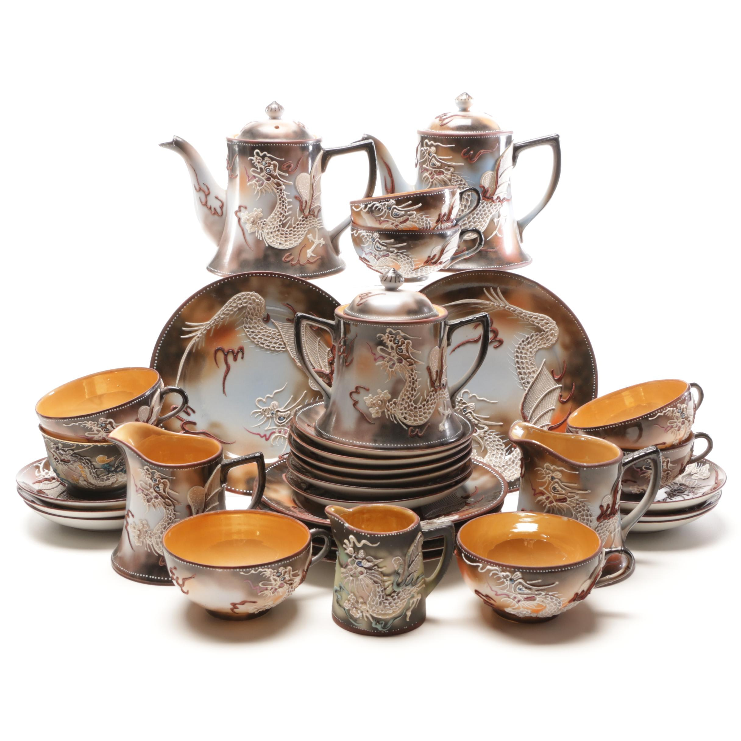 Takito Japanese Moriage Dragonware Porcelain Tea Set