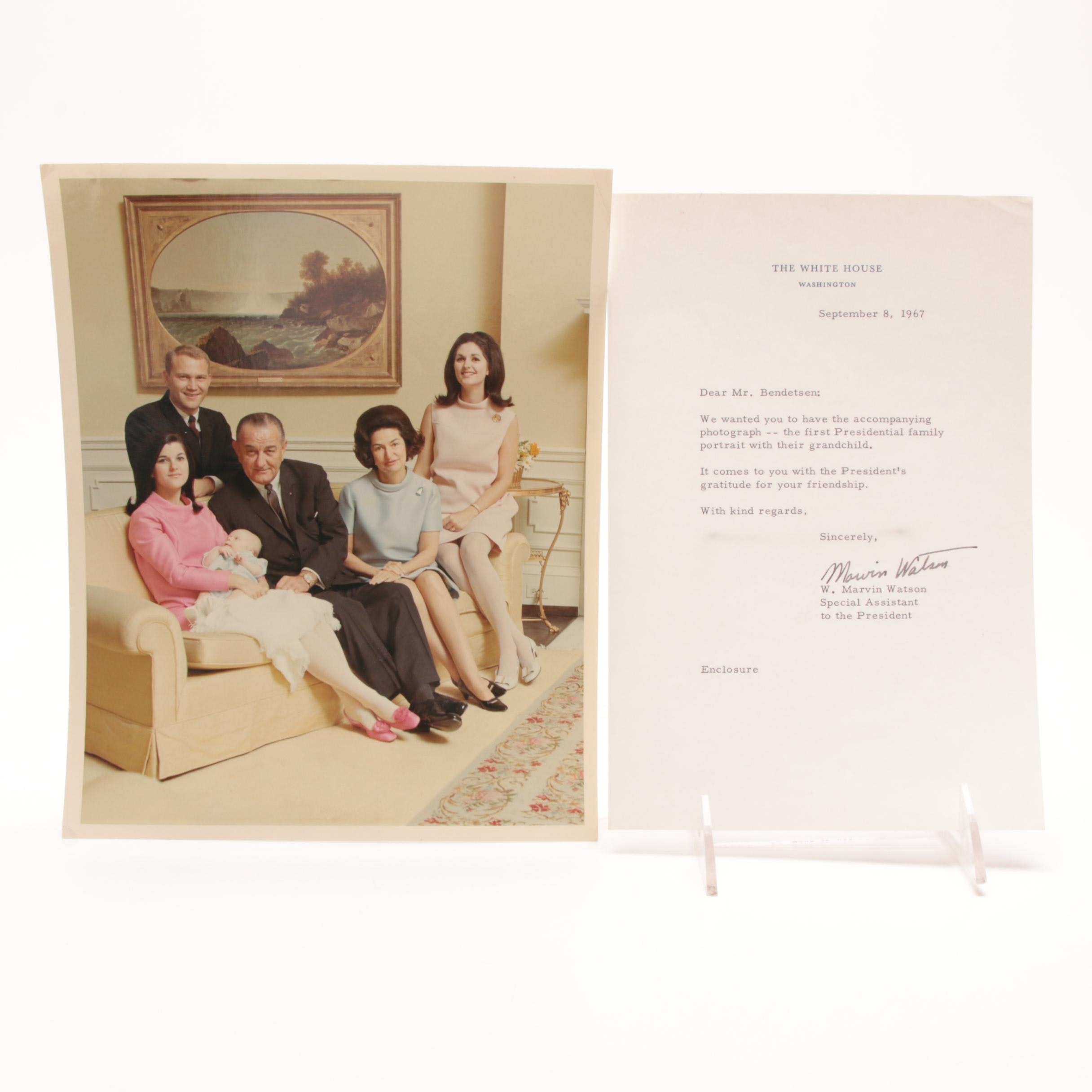 1967 White House Lyndon Johnson Correspondence Letter and Family Portrait