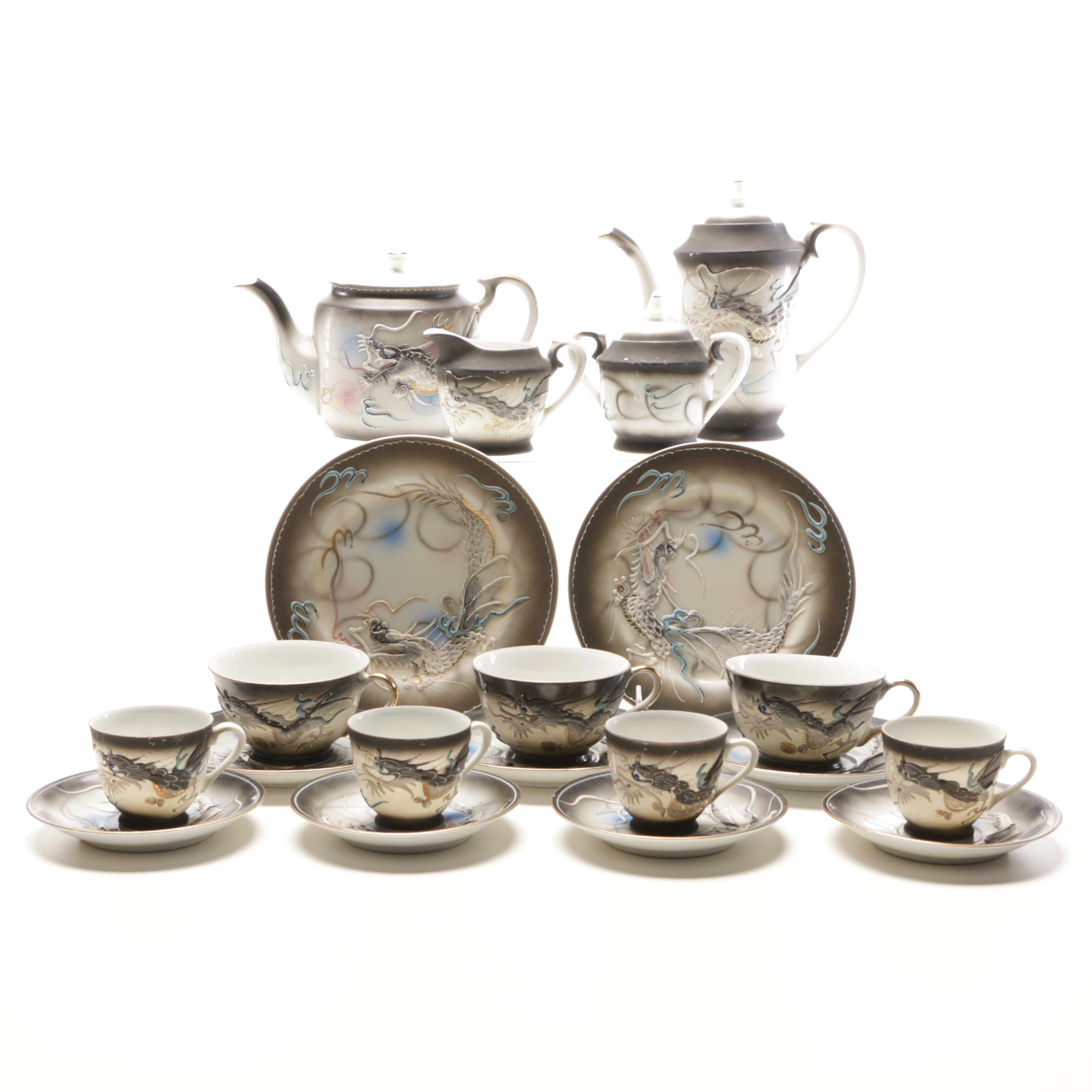 Japanese Moriage Dragonware Tea Set with Swirl Patterned Tea Pot, Cream/Sugar