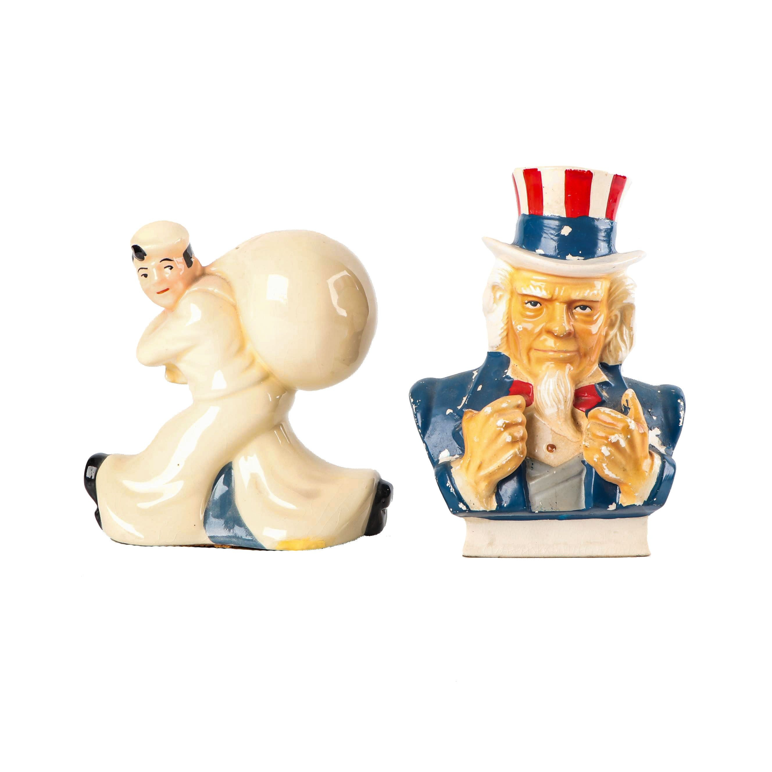 "McCoy ""The Sea-Men's Bank For Saving"" Ceramic Coin Bank and ""Uncle Sam"" Bank"