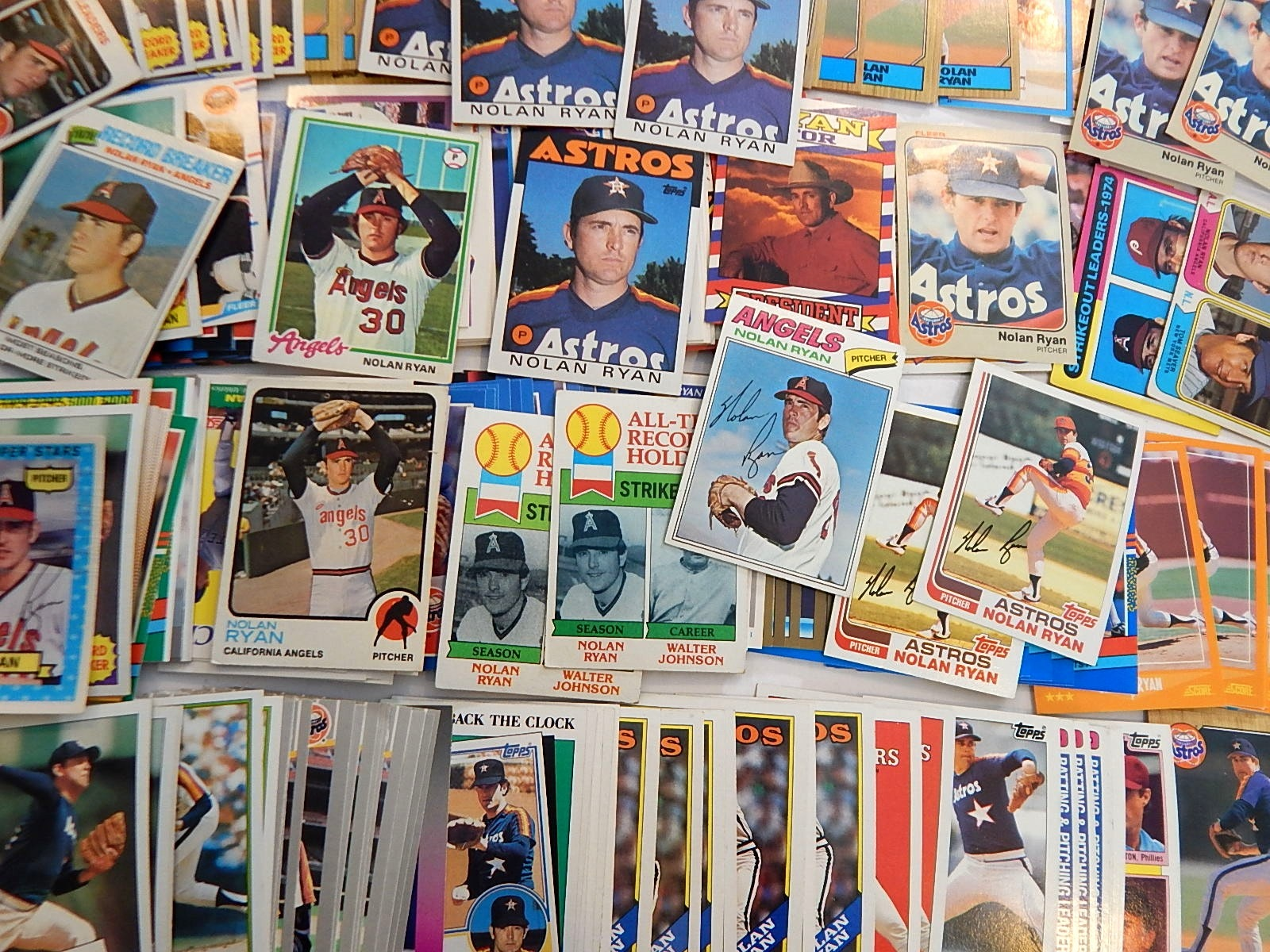 Over 200 (HOF) Nolan Ryan Baseball Cards from 1970s to 1980s