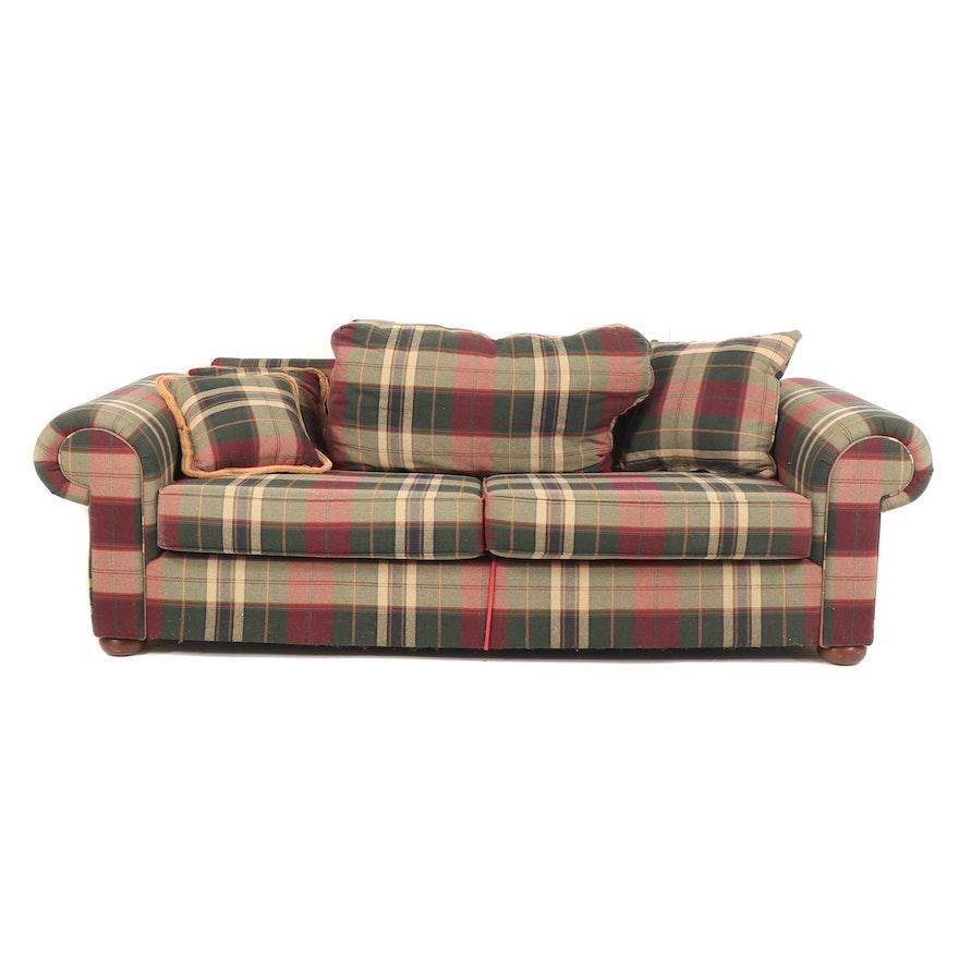 Plaid Upholstered Sleeper Sofa, 21st Century