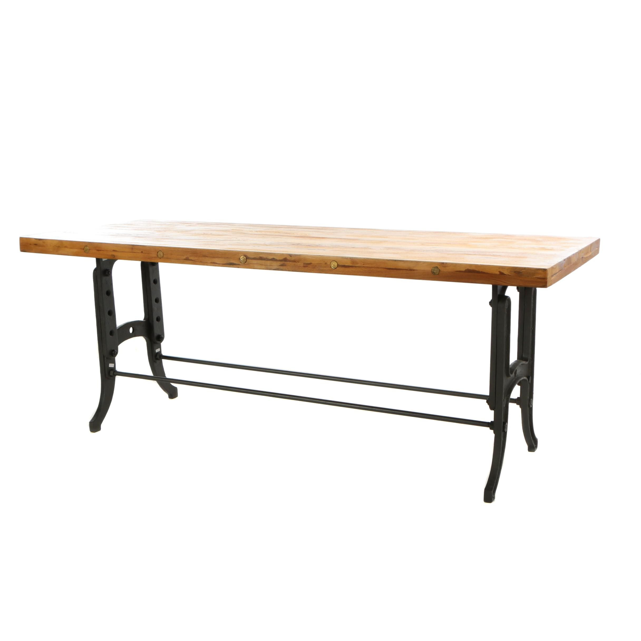 "Industrial Style ""Savile Row"" Pine and Metal Dining Table"