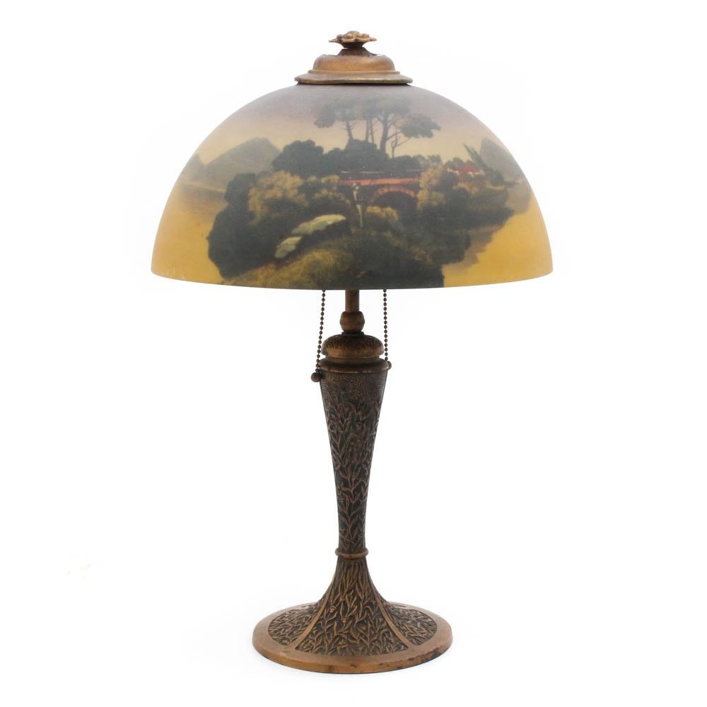 1925 Phoenix Reverse Painted Table Lamp