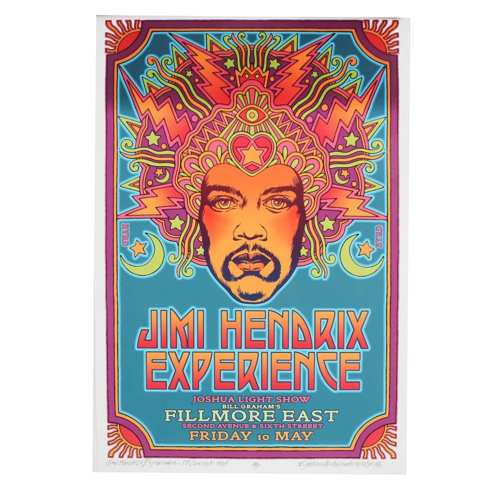 """Signed David Byrd """"Jimi Hendrix at the Fillmore East"""" Giclee Poster"""