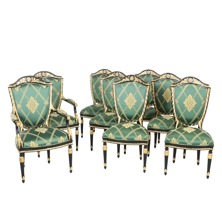 Eight French Empire Style Ebonized and Parcel-Gilt Dining Chairs