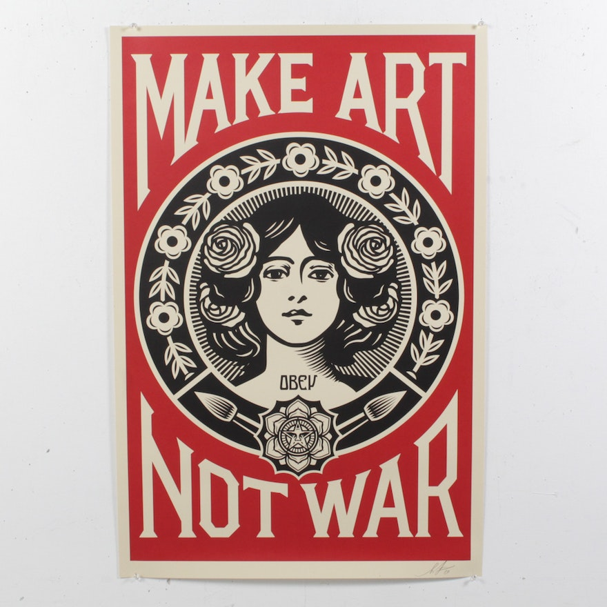 "Shepard Fairey Offset Print ""Make Art, Not War"""