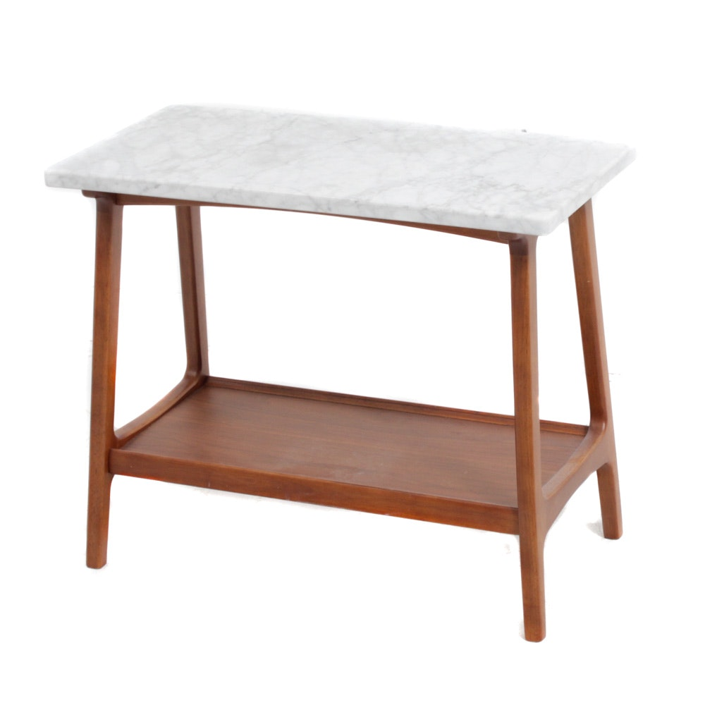 "West Elm ""Reeve Mid Century"" Walnut and Marble Side Table"