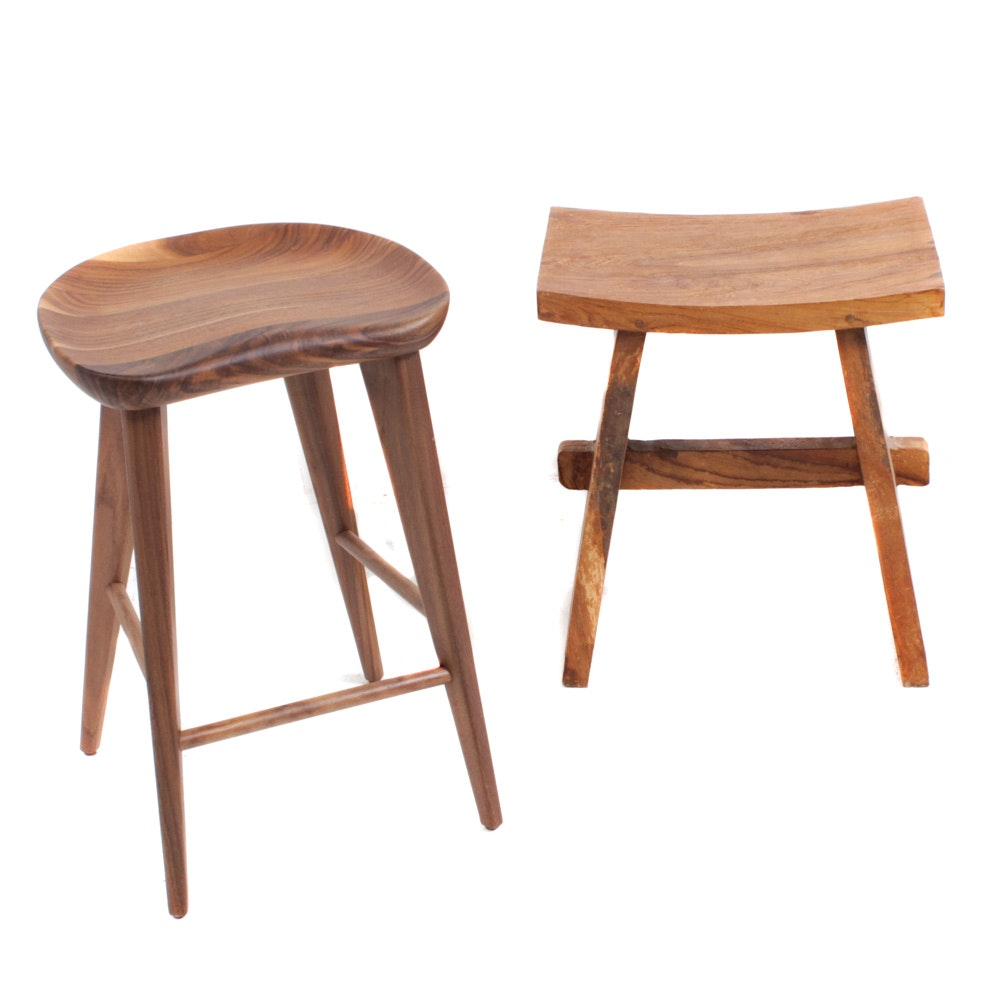 Walnut Mid-Century Modern and Tropical Hardwood Rustic Accent Stools