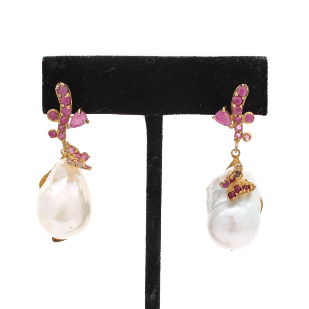 Sterling Silver Cultured Baroque Pearl and Ruby Earrings